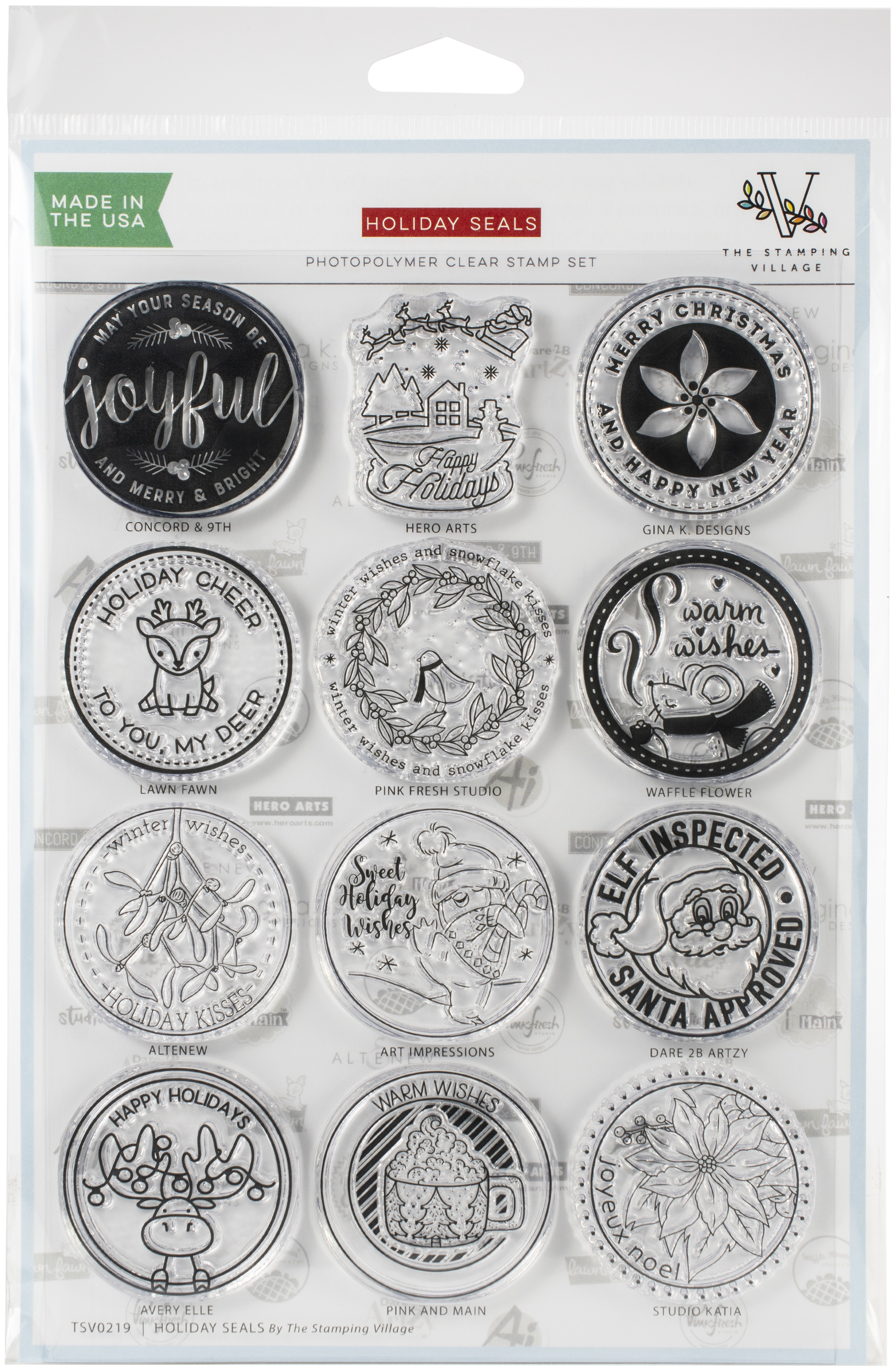 Stamping Village Clear Stamps 6X8-Holiday Seals Collection