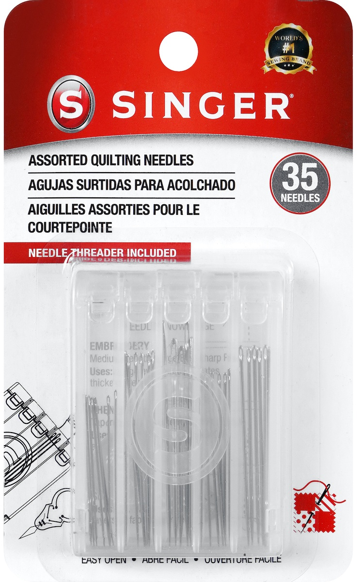 Singer Quilting Needles Compact W/ Needle Threader Storage-Assorted Sizes 35/Pkg