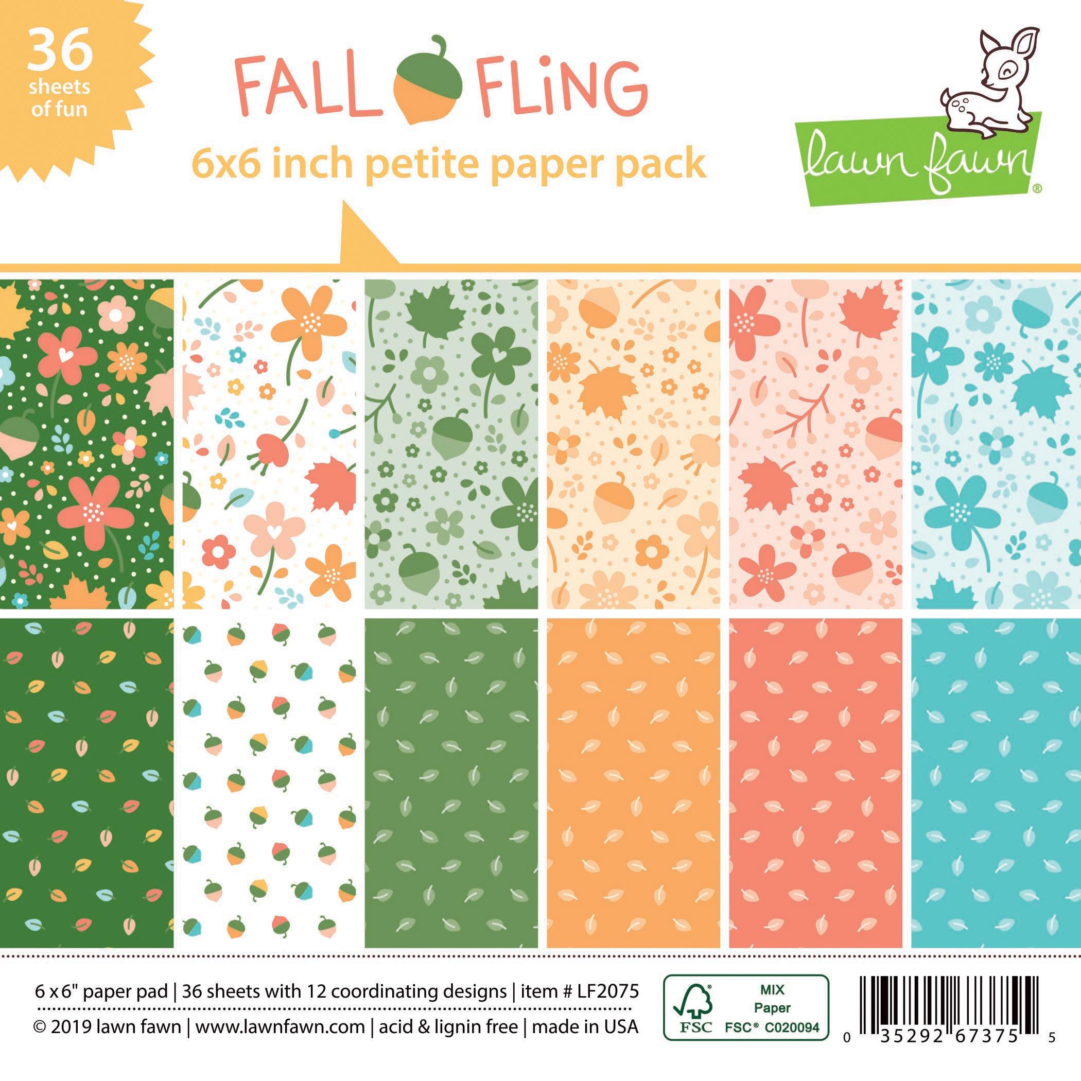 Lawn Fawn Single-Sided Petite Paper Pack 6X6 36/Pkg-Fall Fling, 12 Designs/3 E...