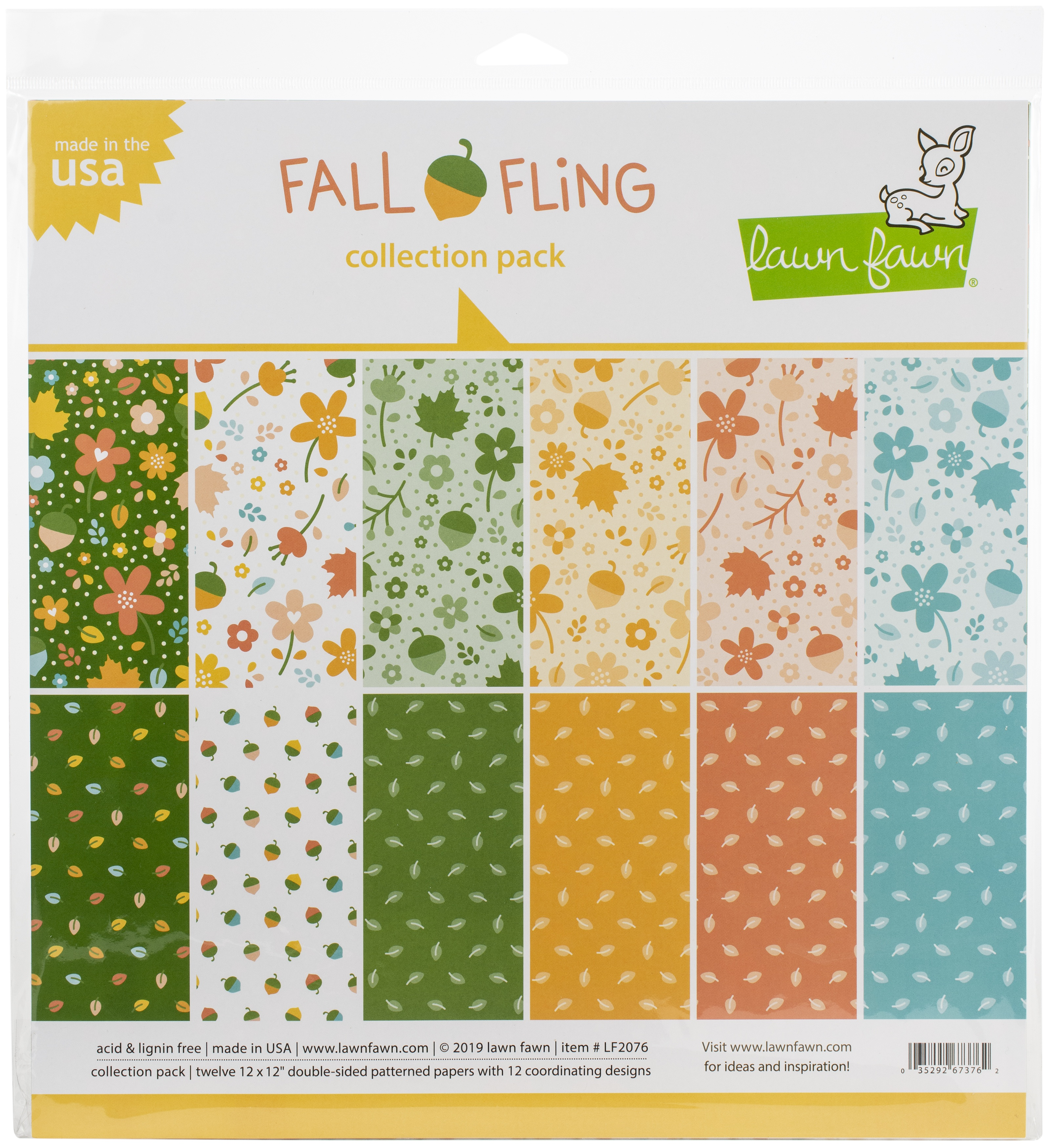 Lawn Fawn Double-Sided Collection Pack 12X12 12/Pkg-Fall Fling 6 Designs/2 Eac...