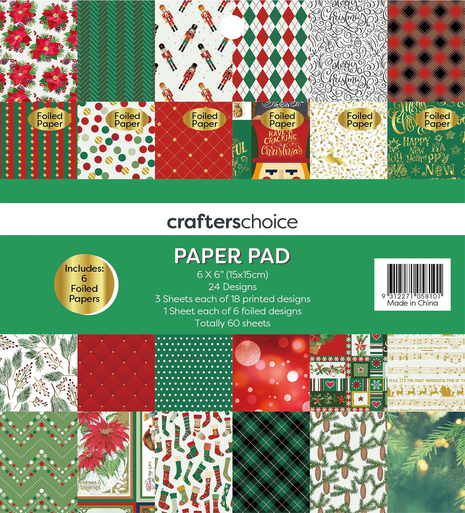 Crafters Christmas Paper Pad 6X6 60/Pkg-Nostalgic Treasures