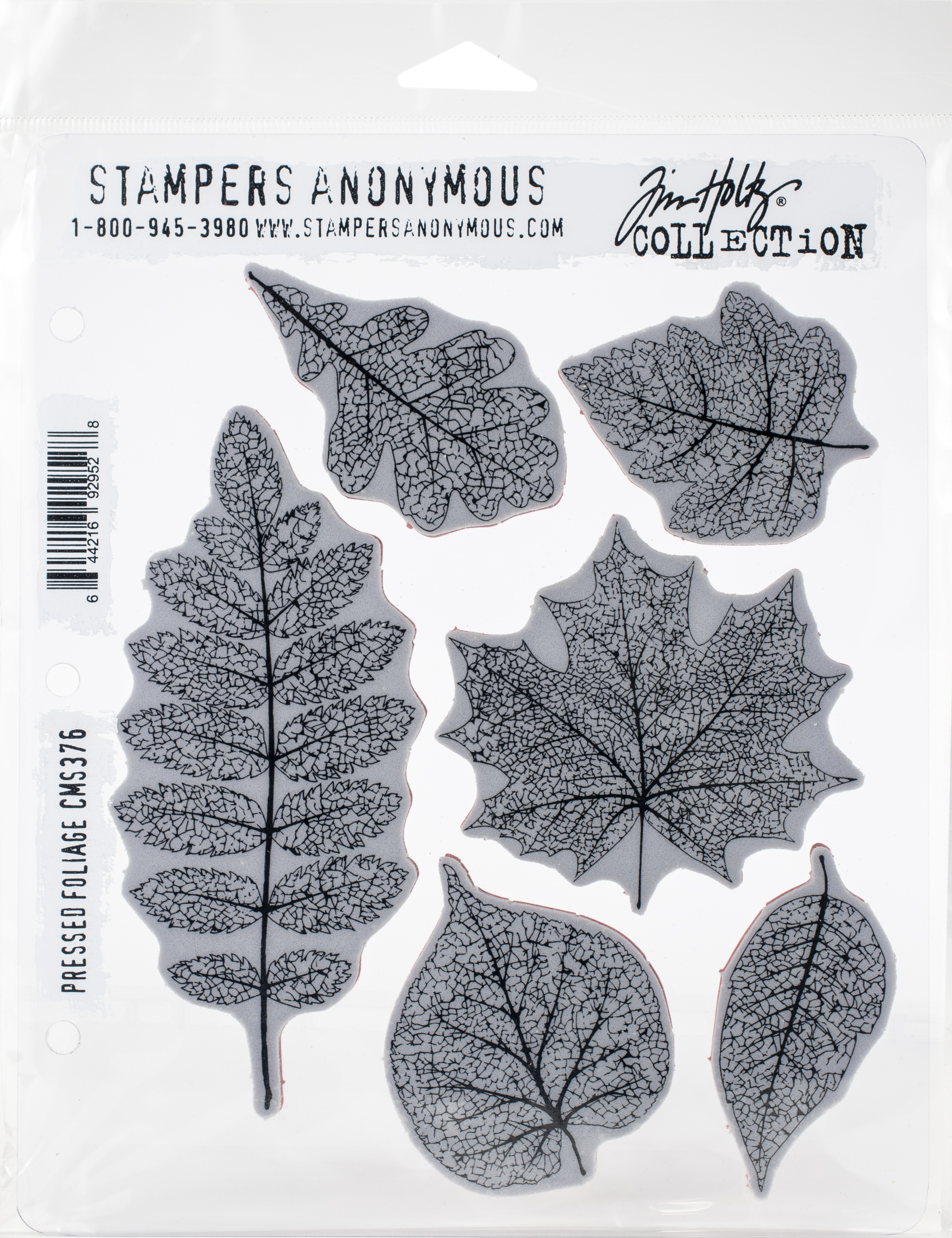 Tim Holtz Cling Stamps 7X8.5-Pressed Foliage