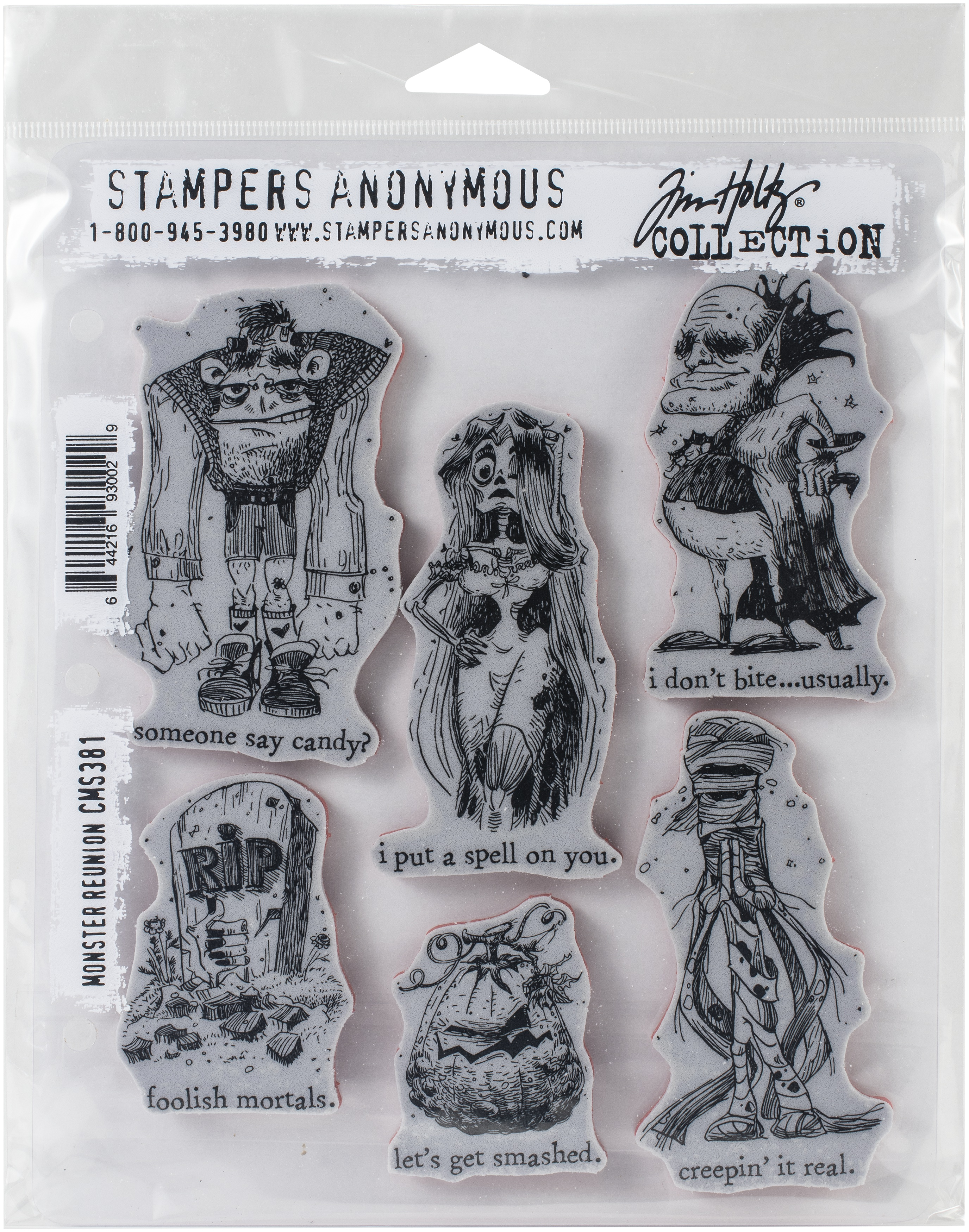 Tim Holtz Cling Stamps 7X8.5-Monster Reunion
