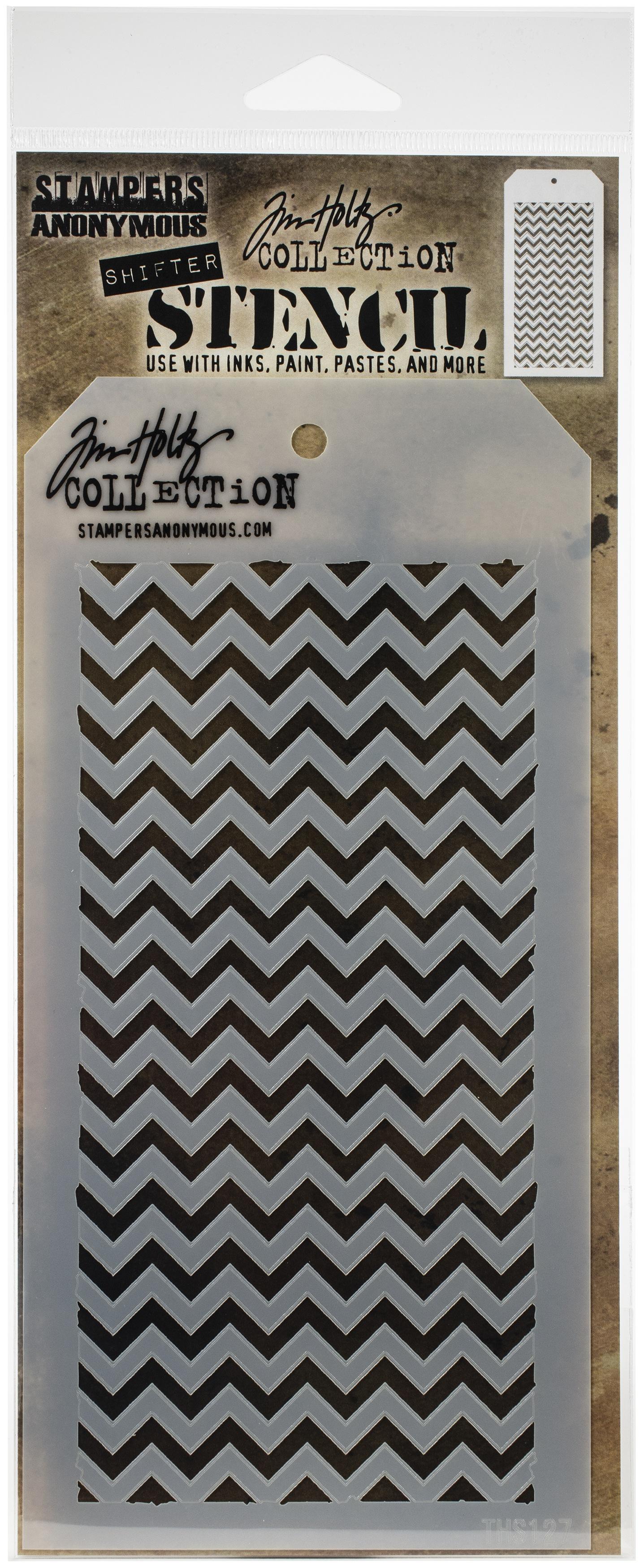 Tim Holtz Layered Stencil 4.125X8.5-Shifter Chevron