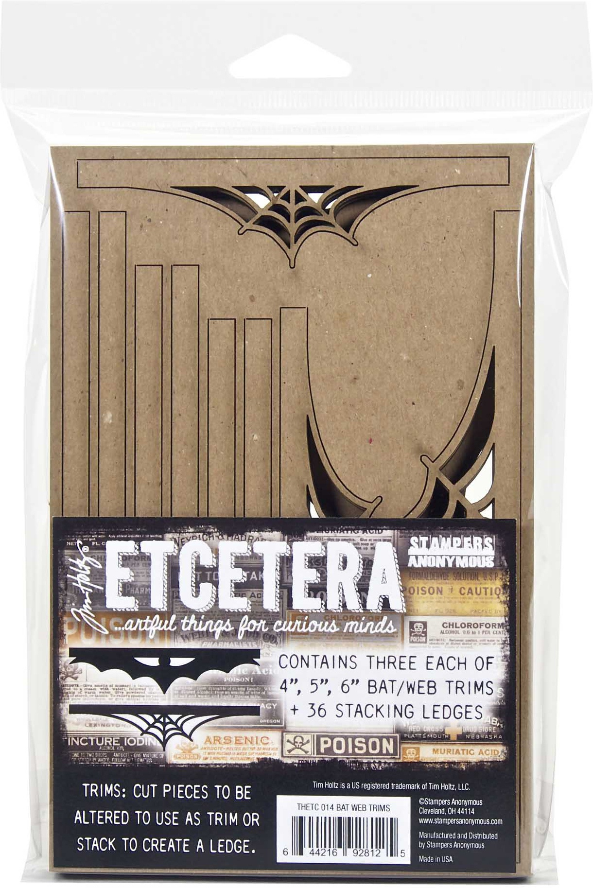 Tim Holtz Etcetera Scallop Trims-Bat & Web
