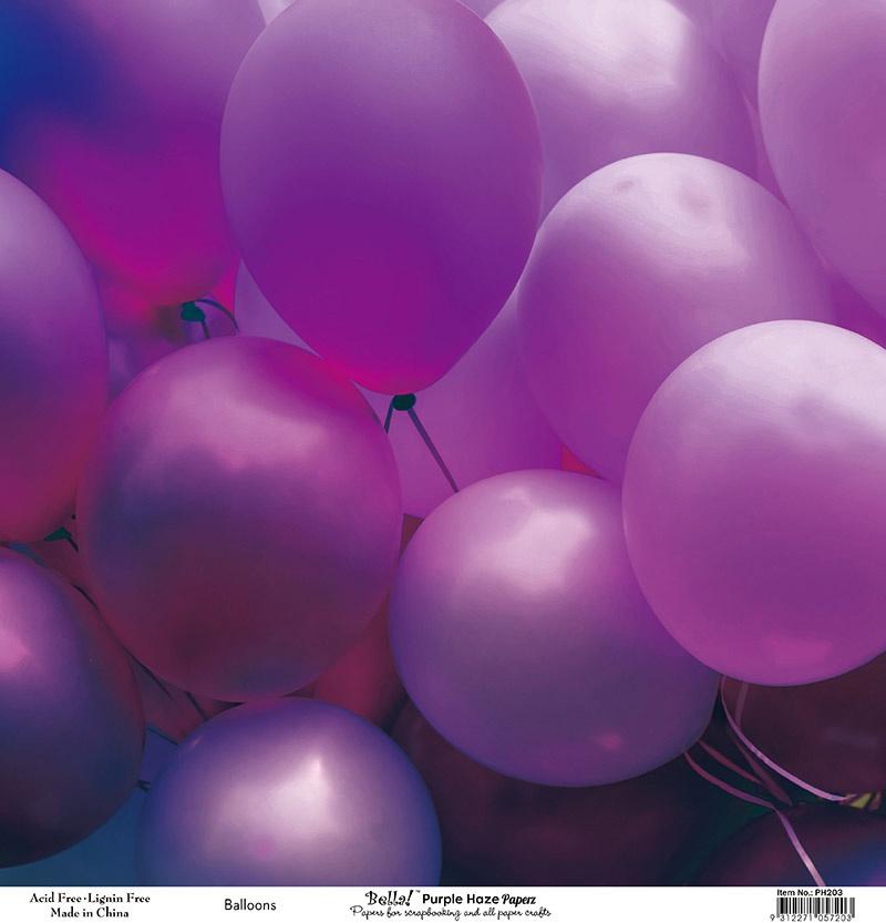 Bella! Paperworld Single-Sided Cardstock 180gsm 12X12-Purple Haze Balloons