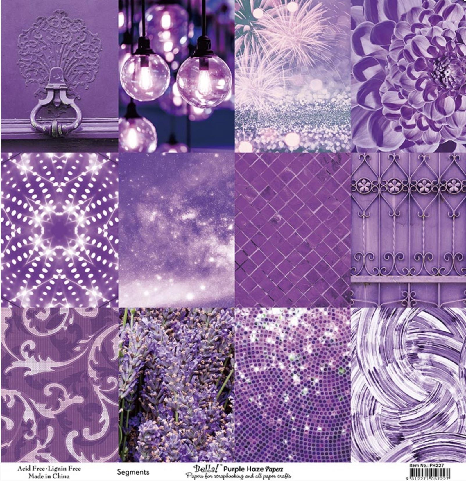 Bella! Paperworld Single-Sided Cardstock 180gsm 12X12-Purple Haze Segments