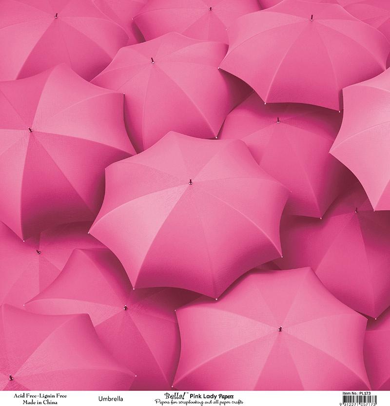 Bella! Paperworld Single-Sided Cardstock 180gsm 12X12-Pink Lady Umbrella