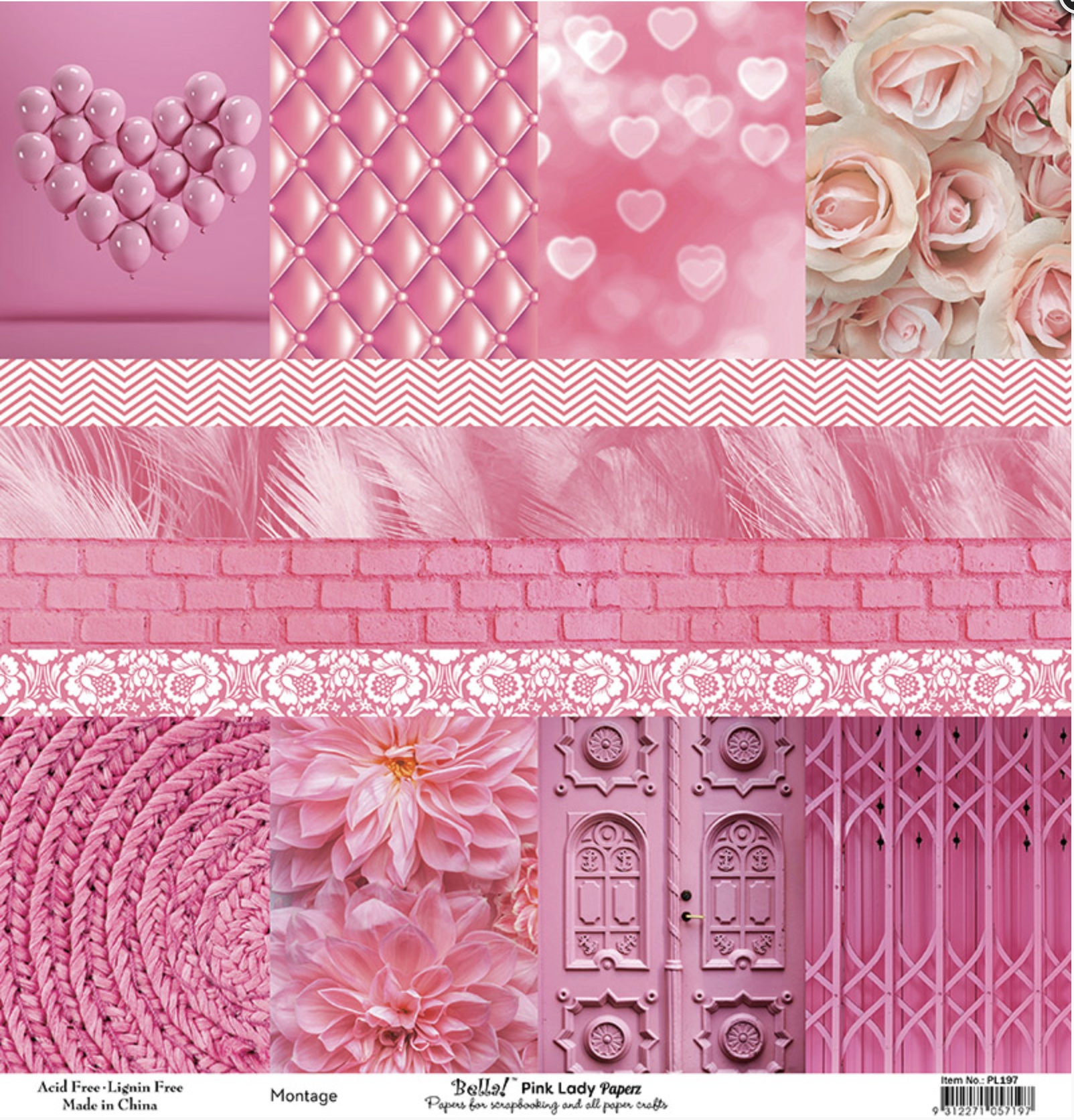 Bella! Paperworld Single-Sided Cardstock 180gsm 12X12-Pink Lady Montage