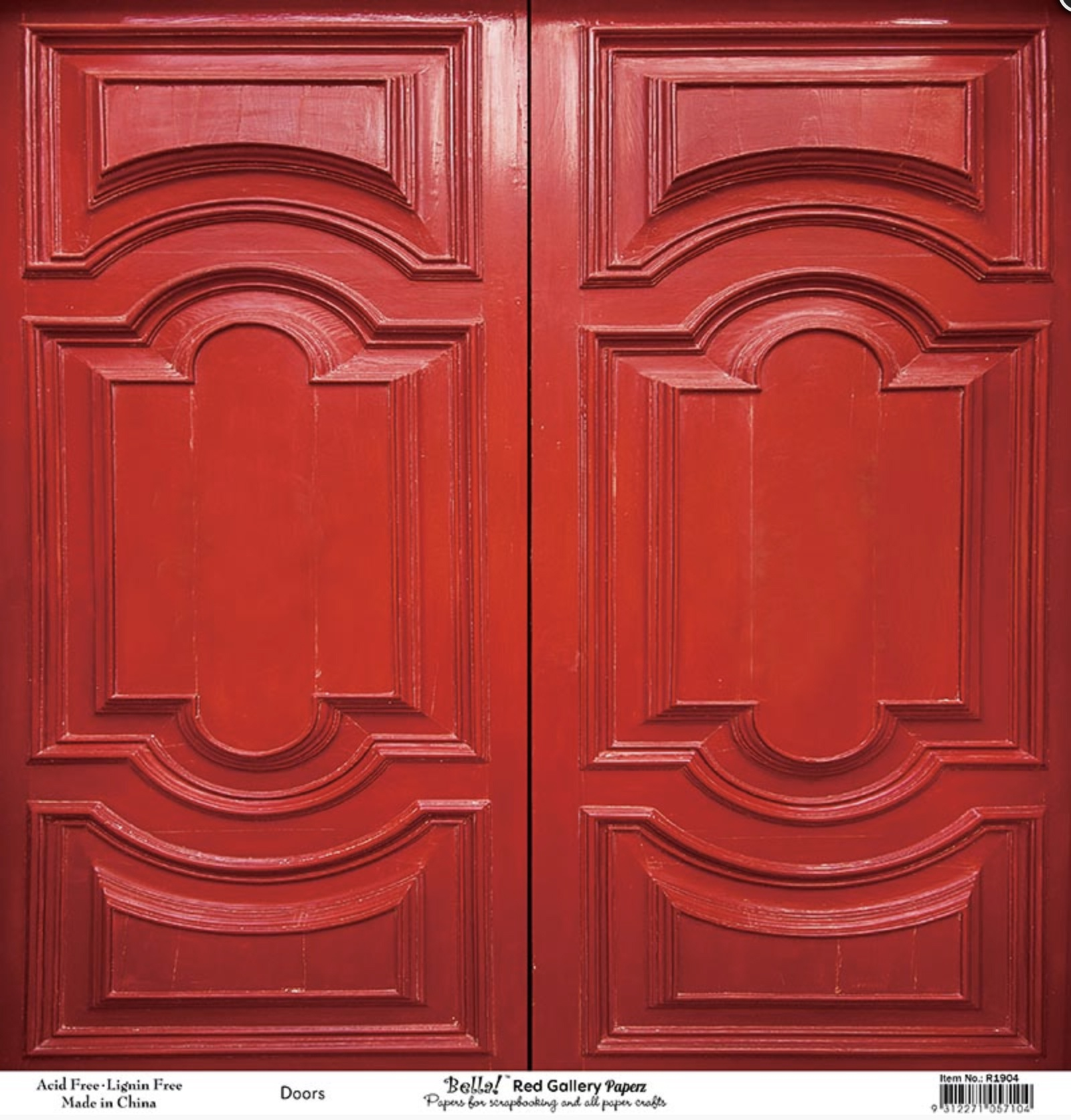 Bella! Paperworld Single-Sided Cardstock 180gsm 12X12-Red Gallery Doors