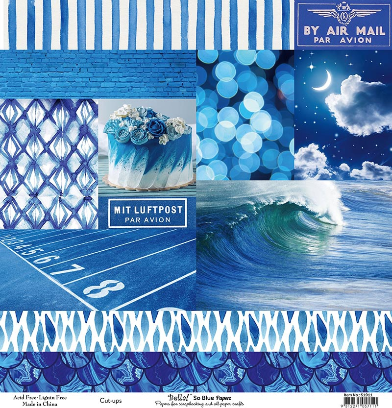 Bella! Paperworld Single-Sided Cardstock 180gsm 12X12-So Blue Cut-Ups