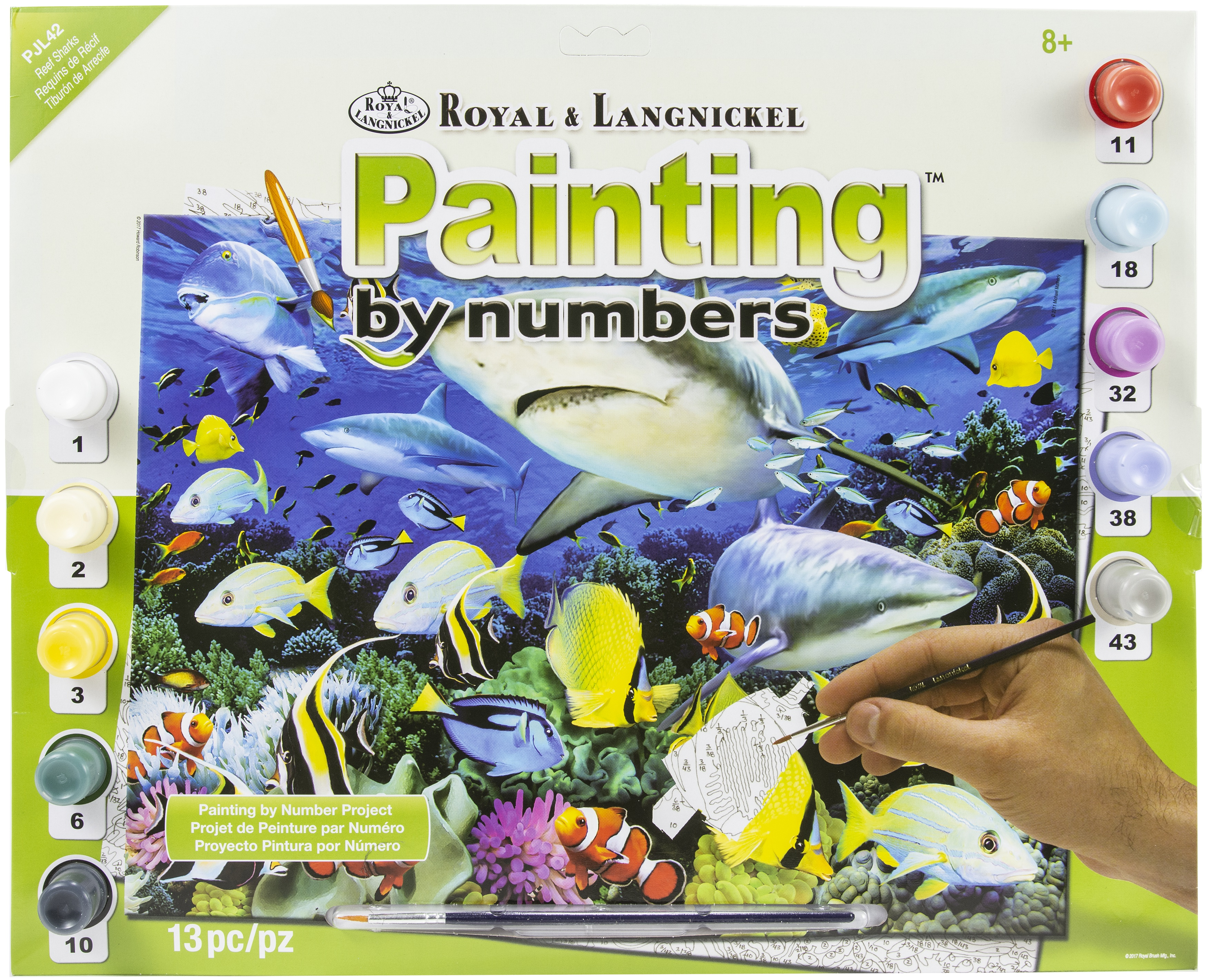 Junior Large Paint By Number Kit 15.25X11.25-Reef Sharks