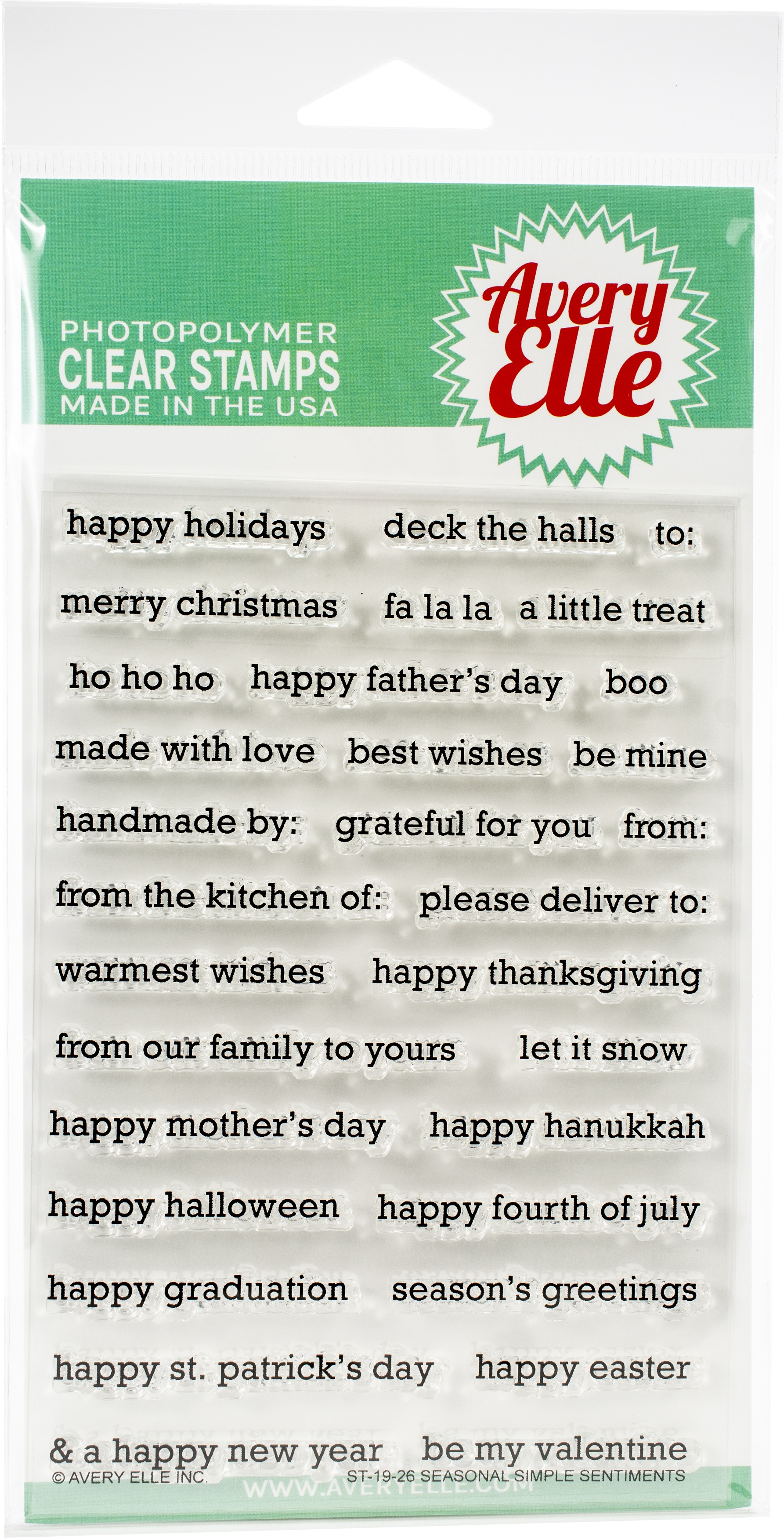 Avery Elle Clear Stamp Set - Seasonal Simple Sentiments