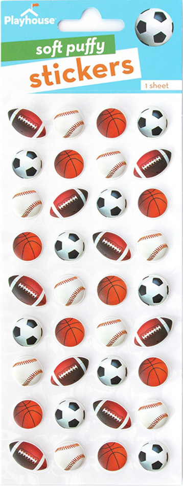 Paper House Soft Puffy Stickers -Mini Mixed Sports Balls