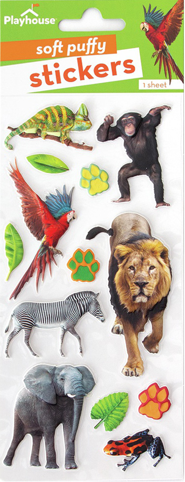 Paper House Soft Puffy Stickers -Zoo Animals