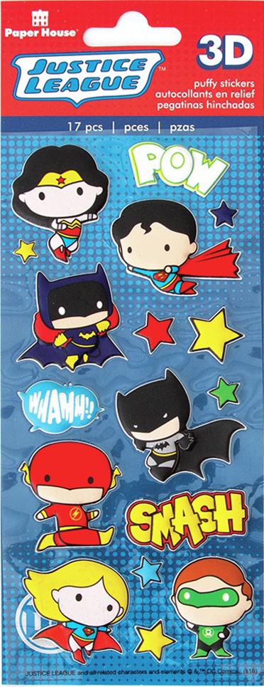 Paper House Soft Puffy Stickers -Justice League Chibi Heroes