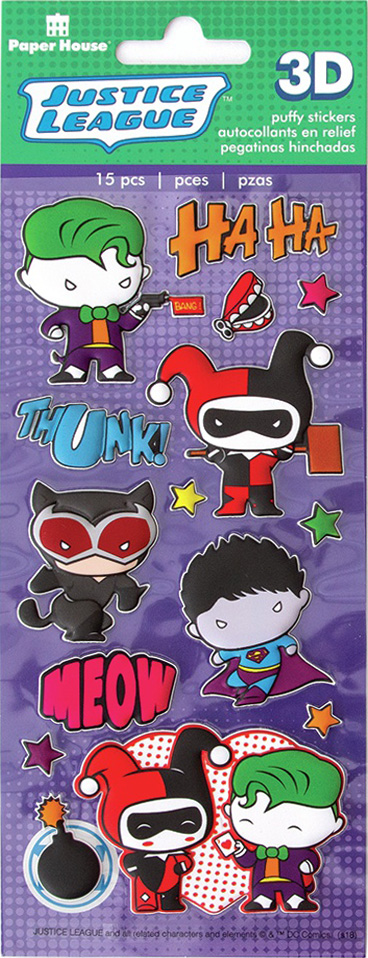 Paper House Soft Puffy Stickers -Justice League Chibi Villians