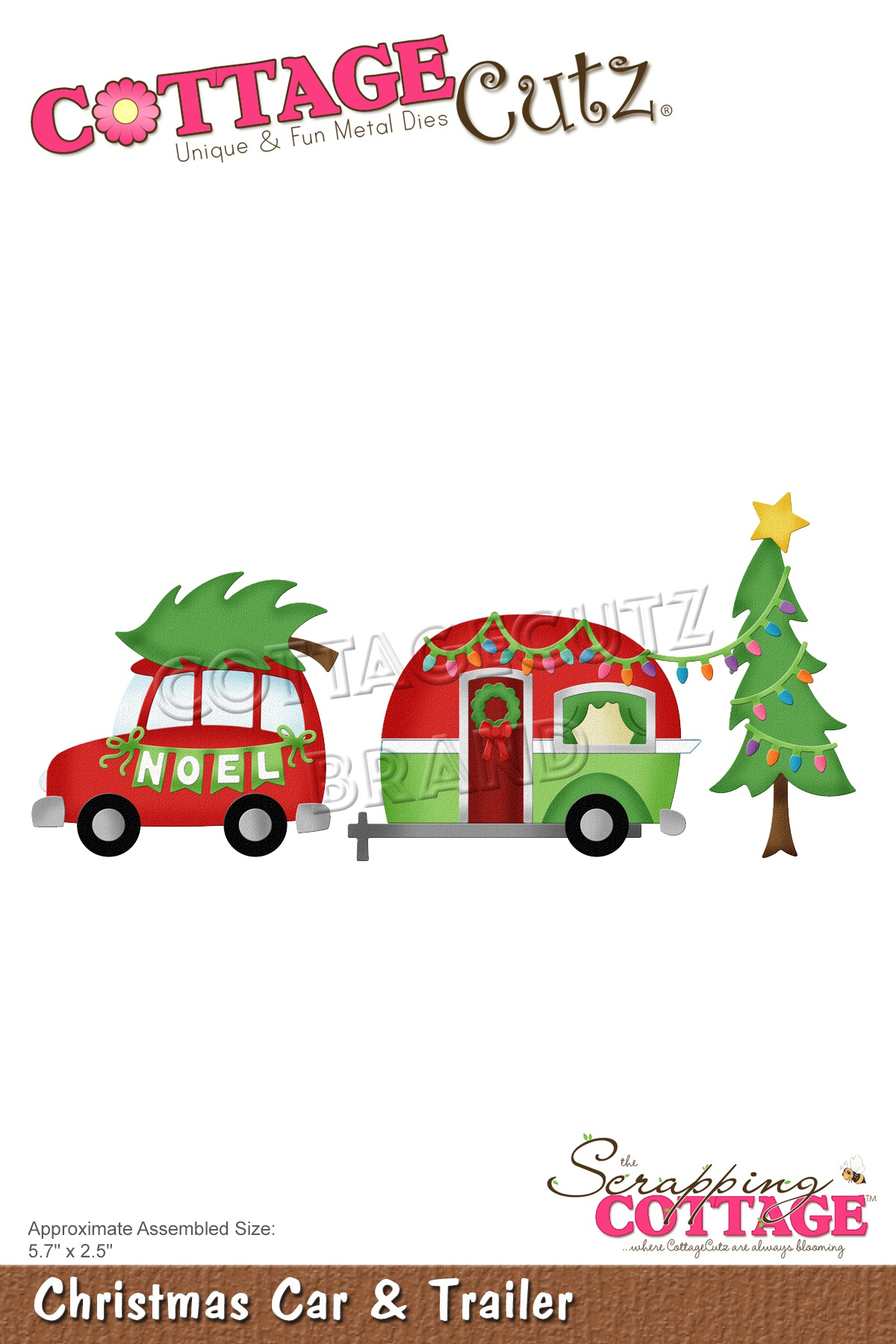 CottageCutz Dies-Christmas Car & Trailer, 5.7X2.5