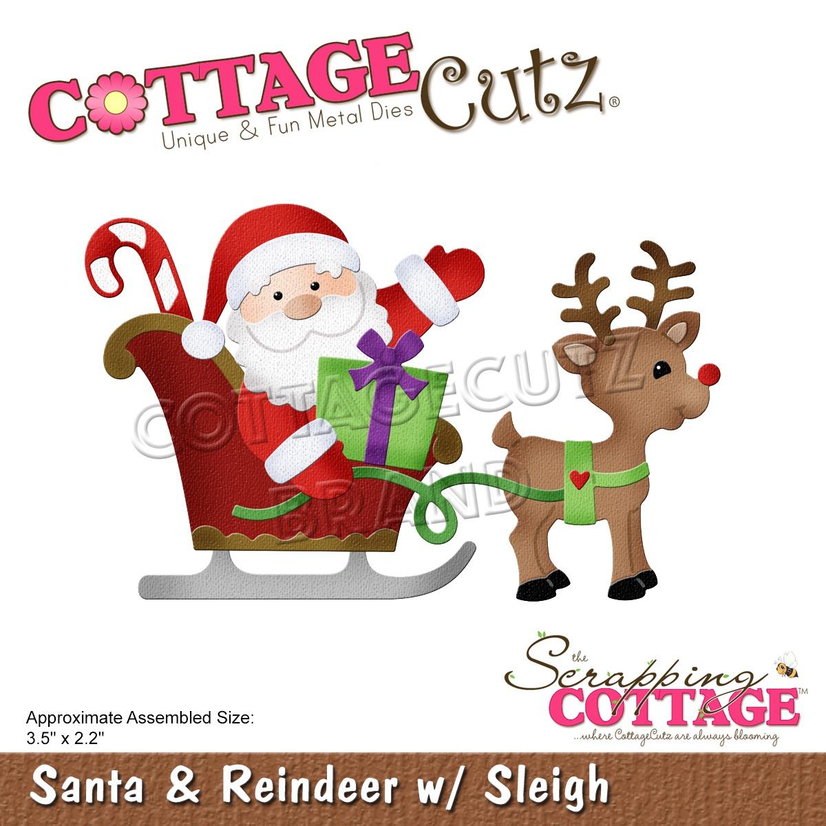 CottageCutz Dies-Santa & Reindeer W/Sleigh, 3.5X2.2