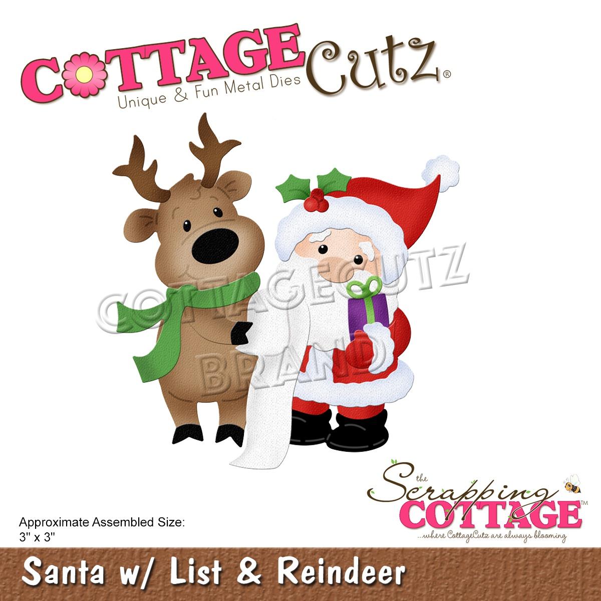 CottageCutz Dies-Santa W/List & Reindeer, 3X3