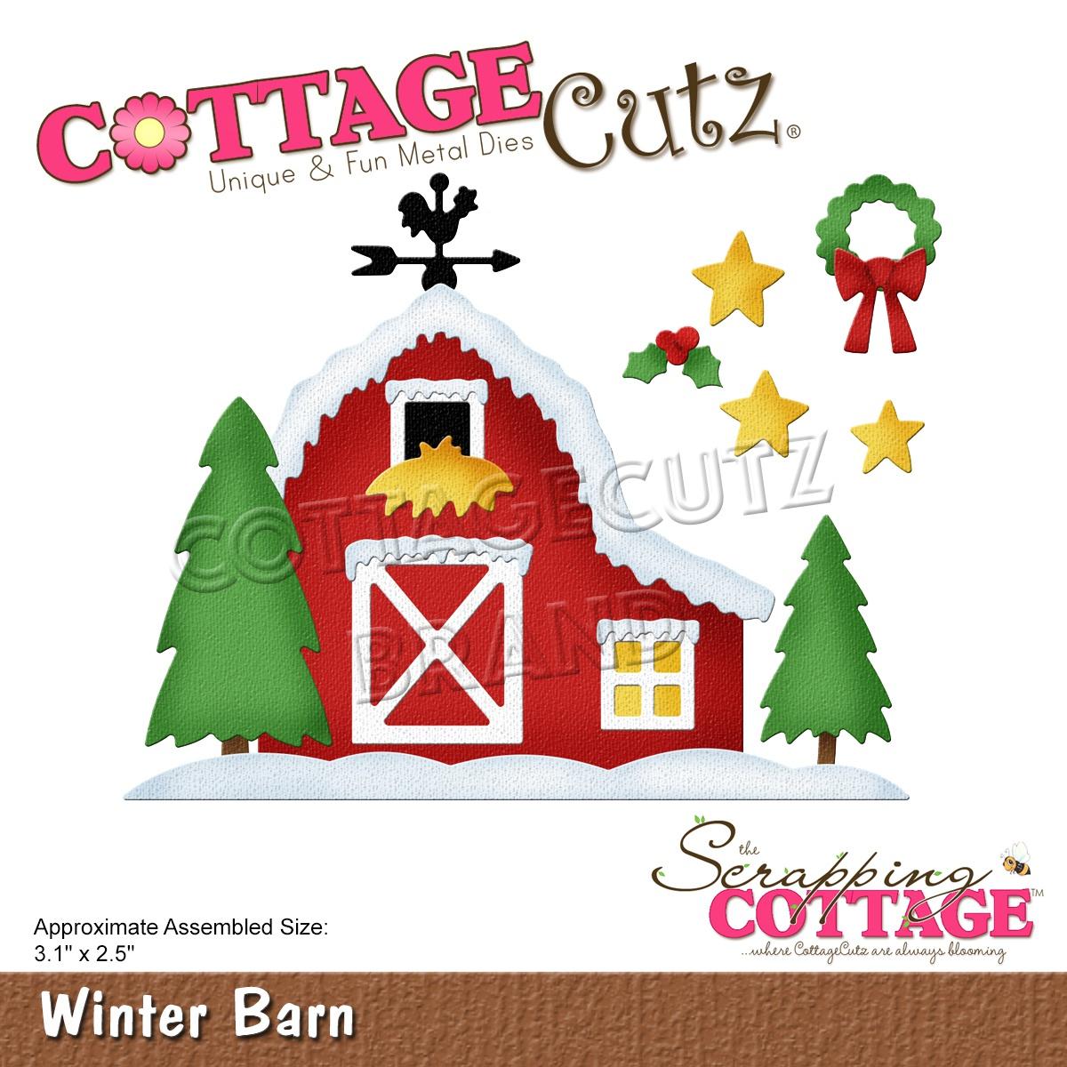 CottageCutz Dies-Winter Barn, 3.1X2.5