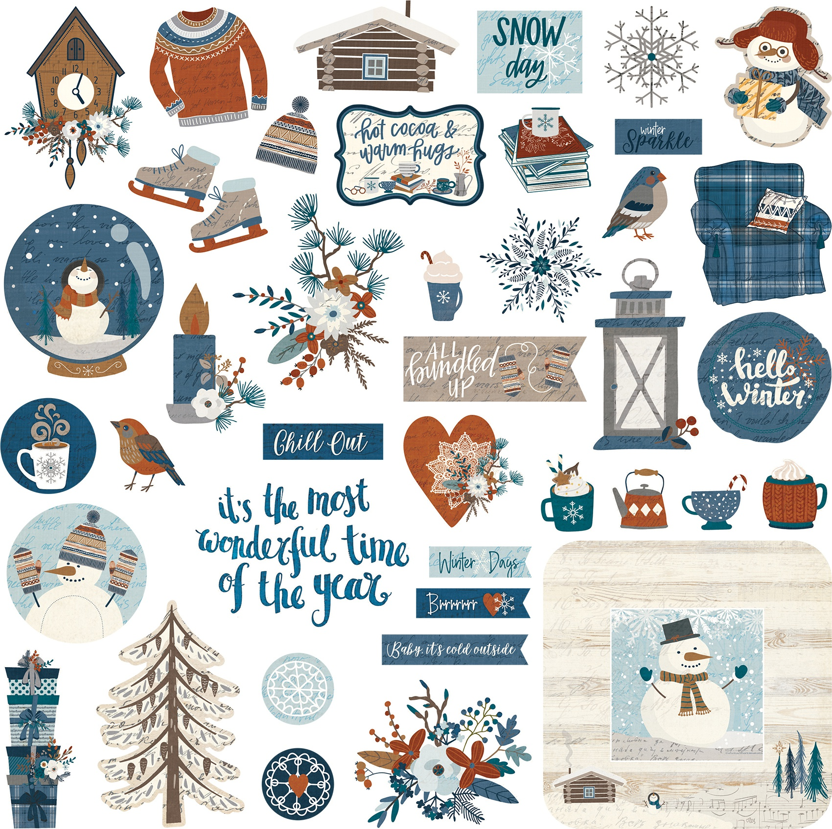 For The Love Of Winter Stickers 12X12-Elements