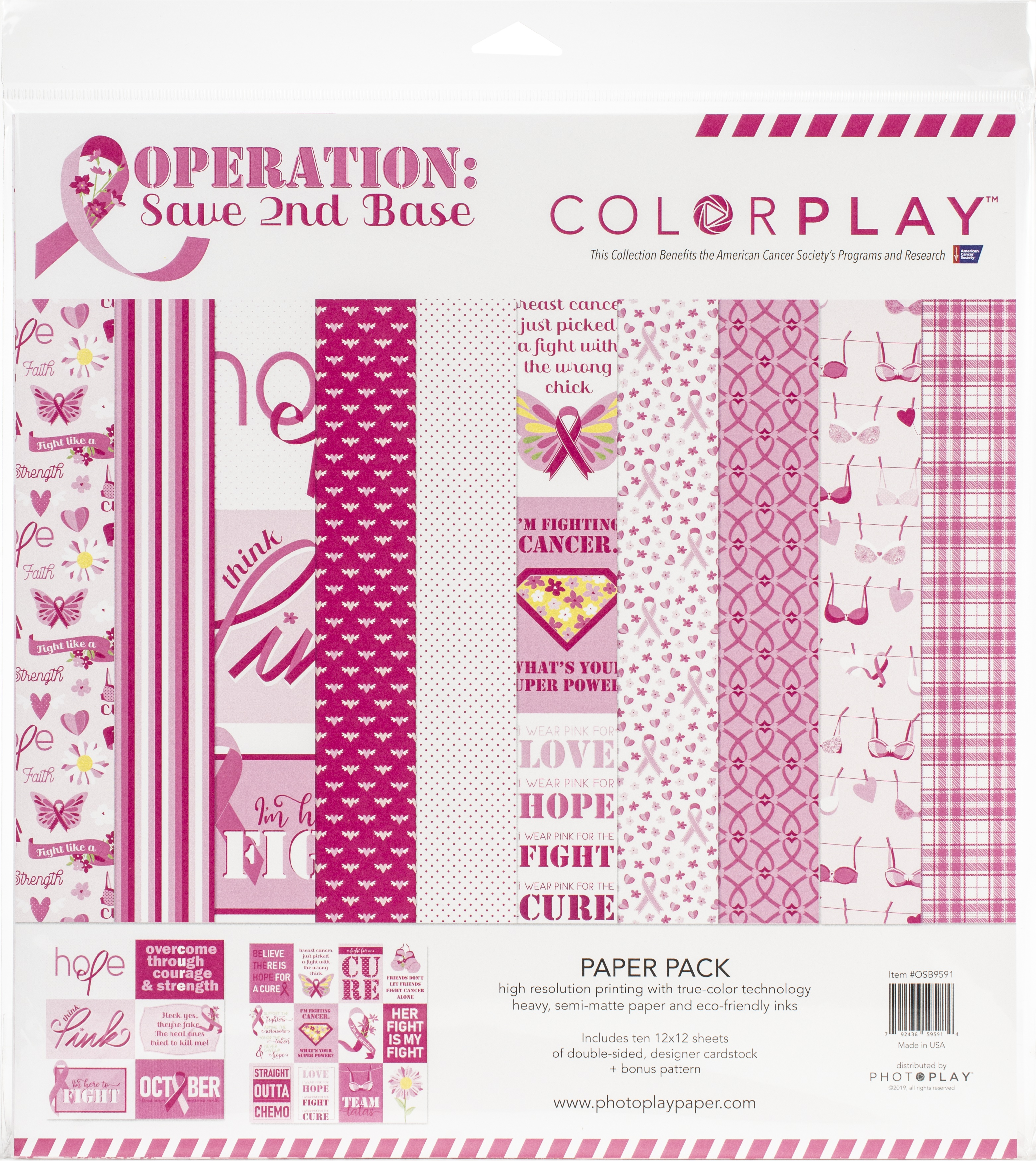 12X12-Operation Save 2nd Base Paper Pack Breast Cancer Awareness