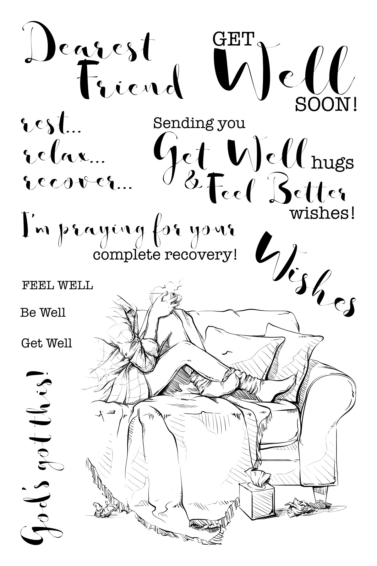 CC Clear Stamps 4X6-Get Well-Lovely Legs