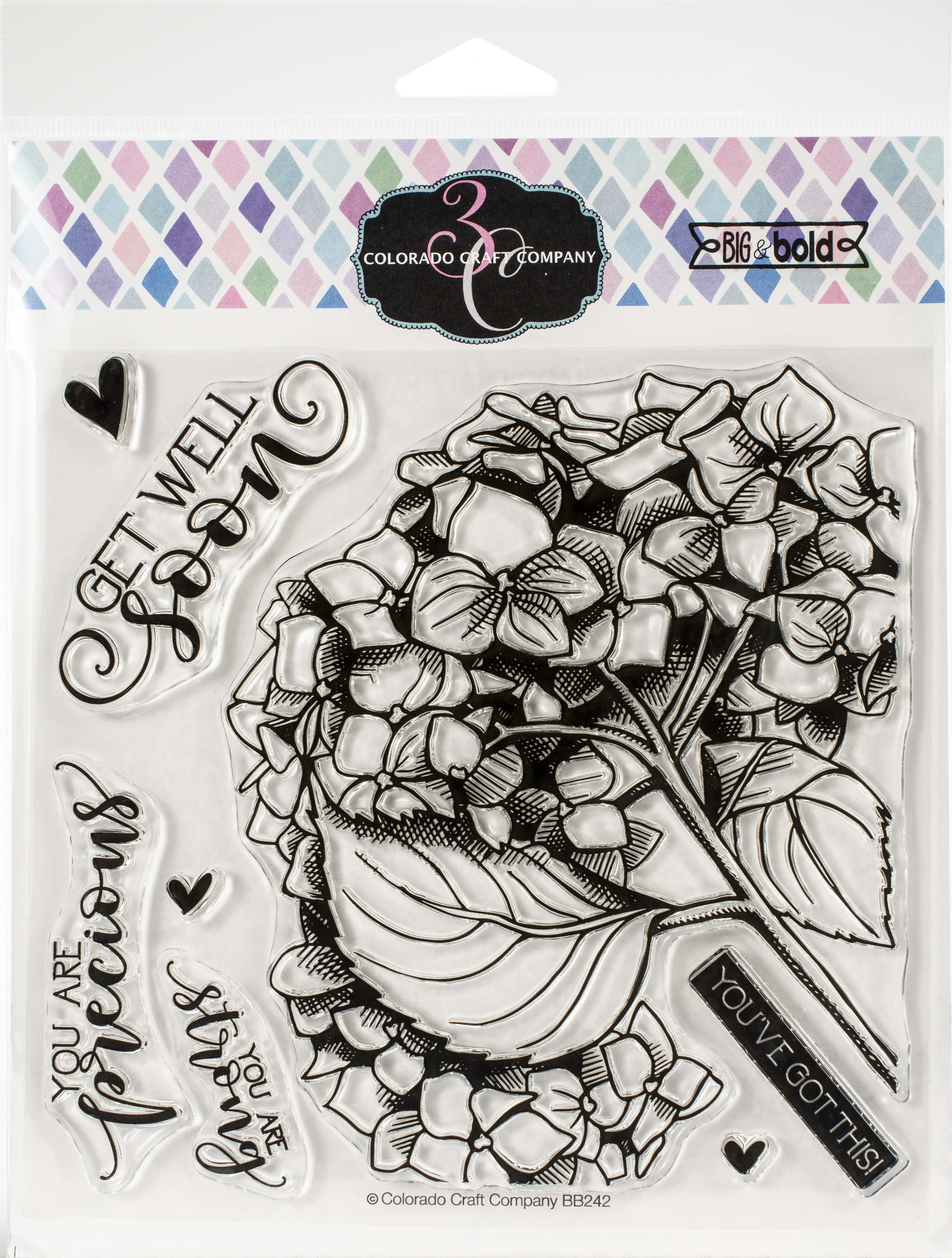 Colorado Craft Company Clear Stamps 6X6-Get Well Hydrangea-Big & Bold