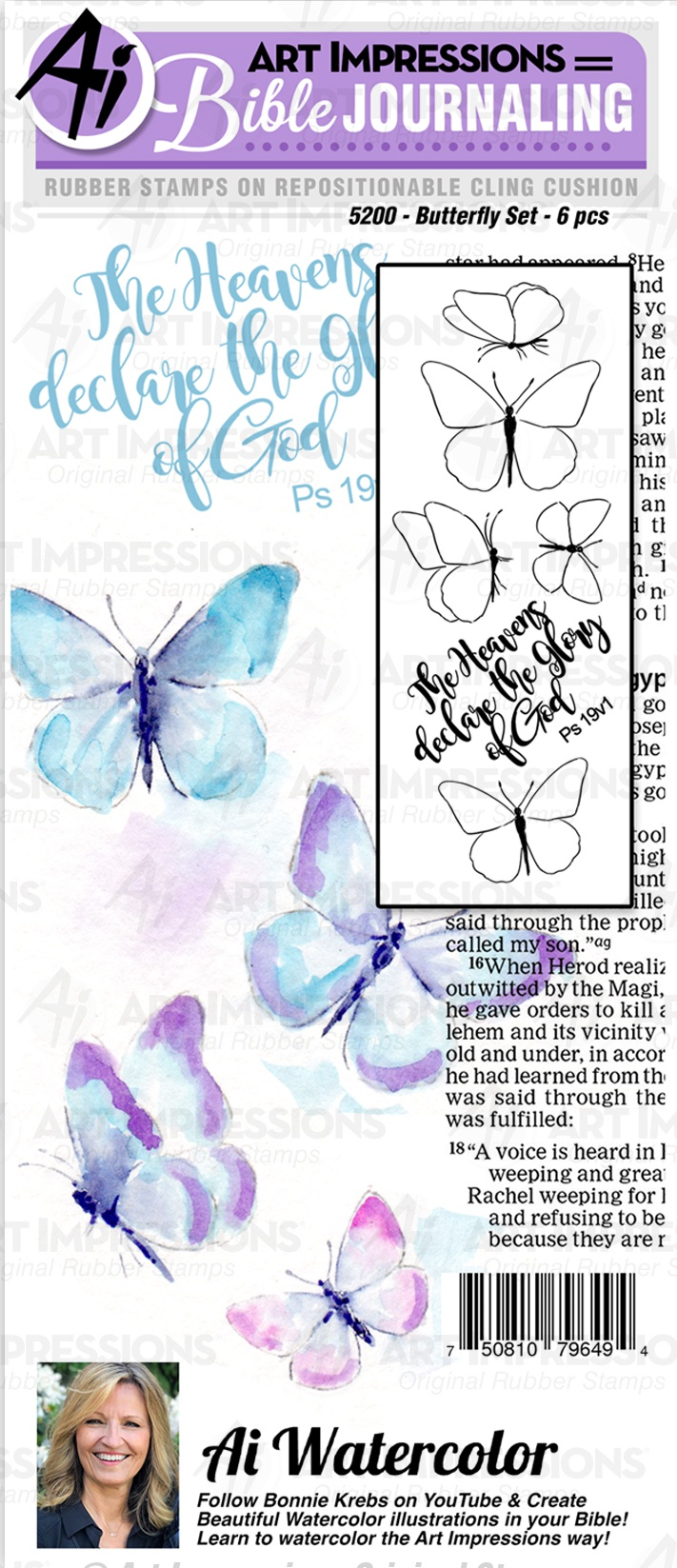 Art Impressions Bible Journaling Watercolor Rubber Stamps-Butterfly