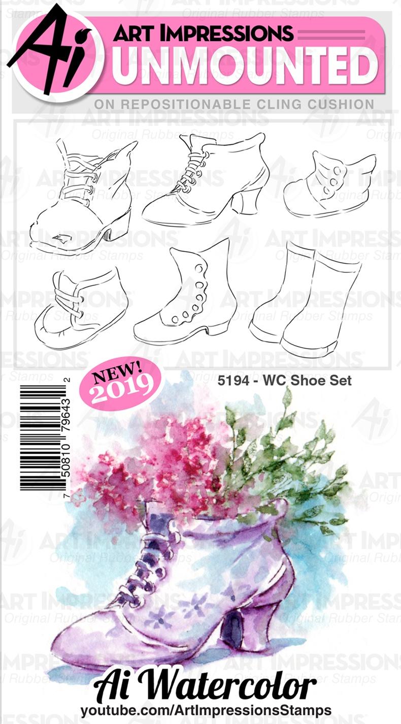 ^Art Impressions Watercolor Stamps - 5194 Shoe Set