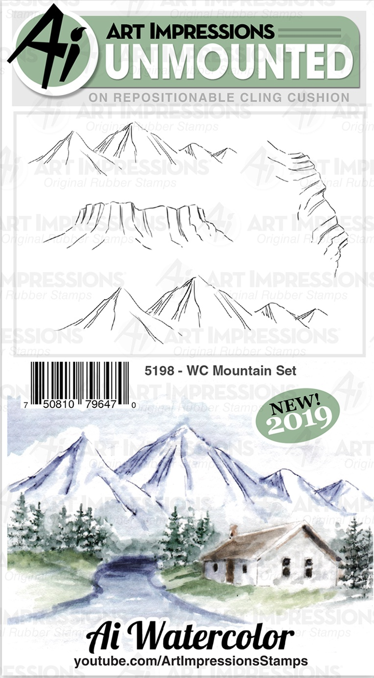 Art Impressions Watercolor Cling Rubber Stamps-WC Mountain