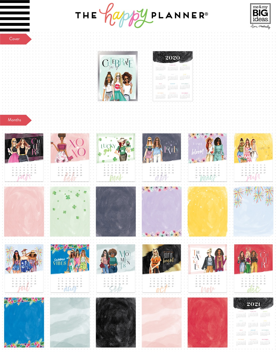 Happy Planner Rongrong 12-Month Dated Spiral Desk Calendar-Jan 2020 - Dec 2020