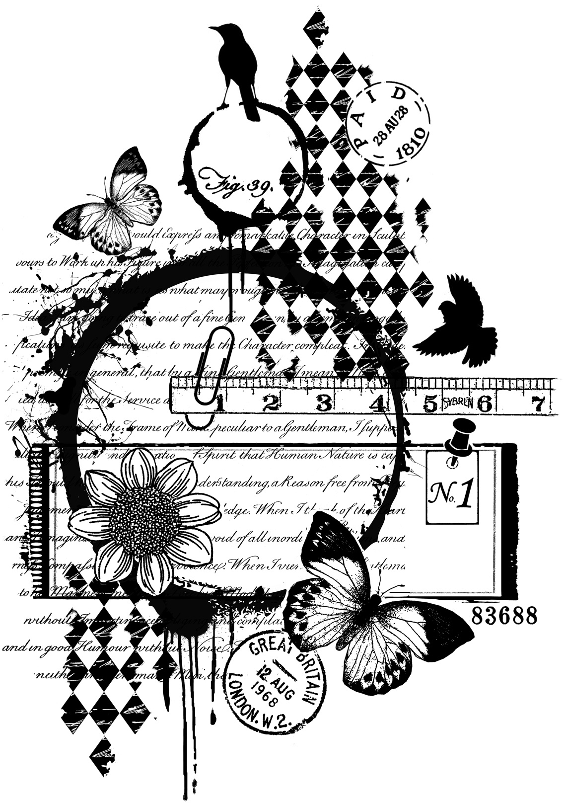 Crafty Individuals Unmounted Rubber Stamp 3.77X5.39-Paid In Great Britain