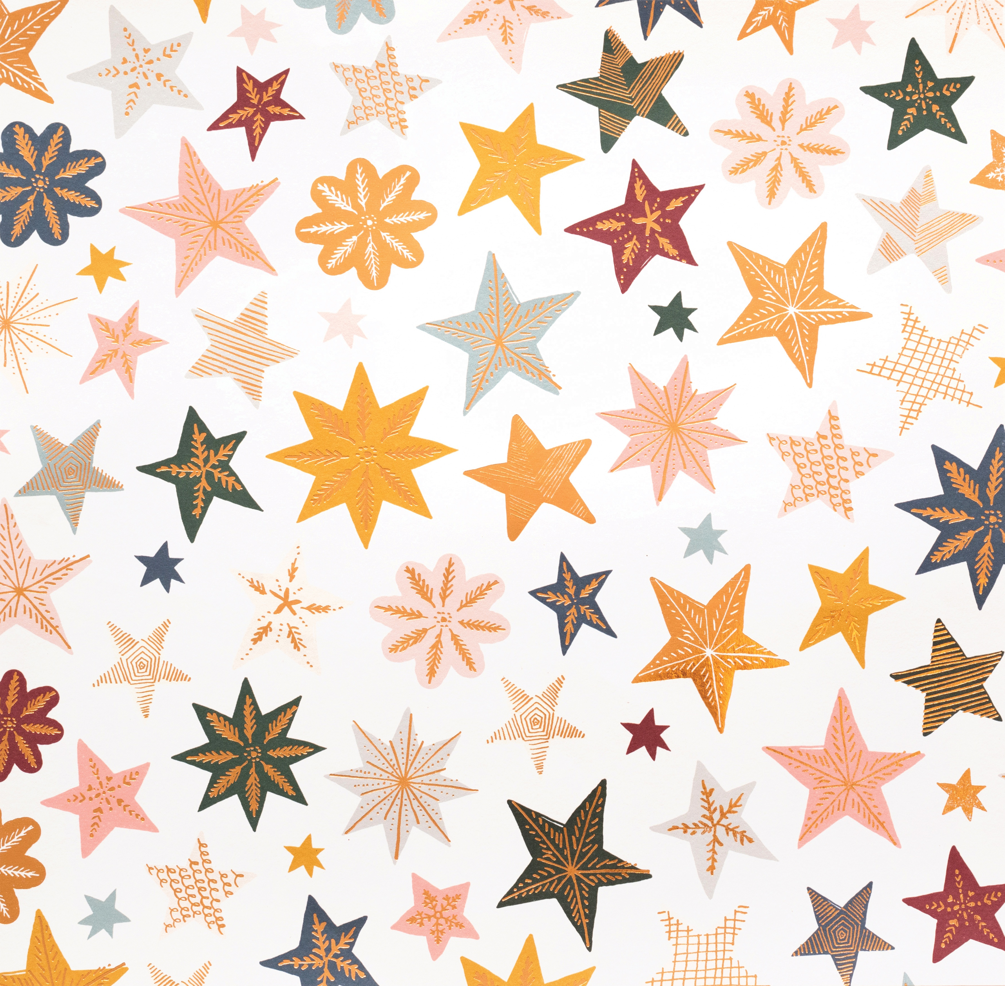 Snowflake Double-Sided Foiled Cardstock 12X12-Joyous W/Copper Foil
