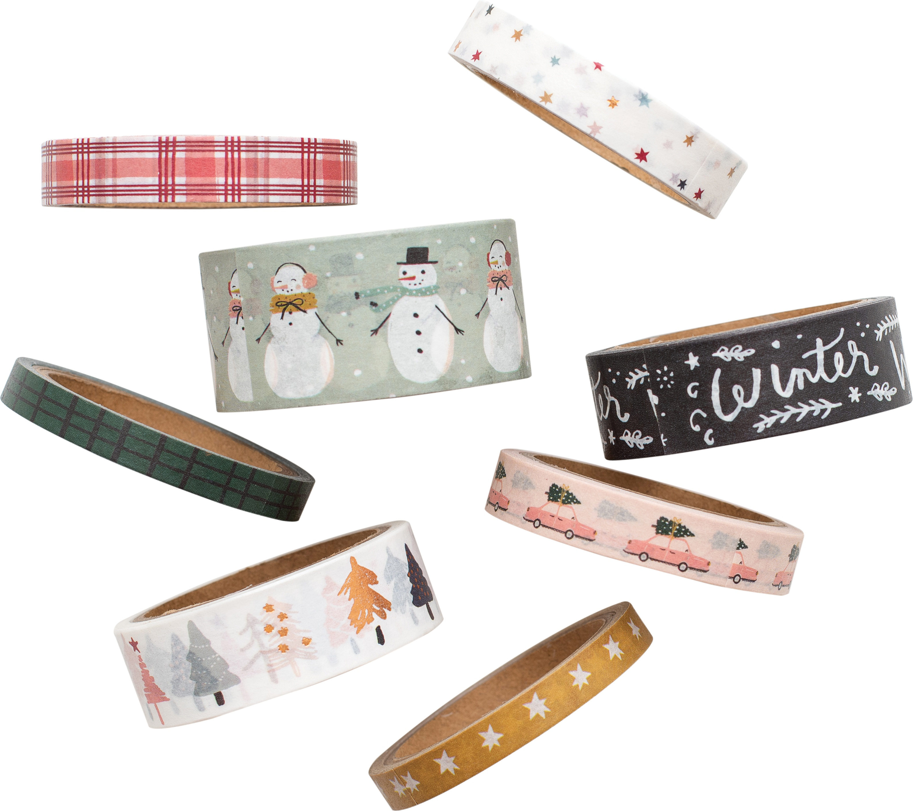 Snowflake Washi Tape 8/Pkg-4 To 6 Yards Each