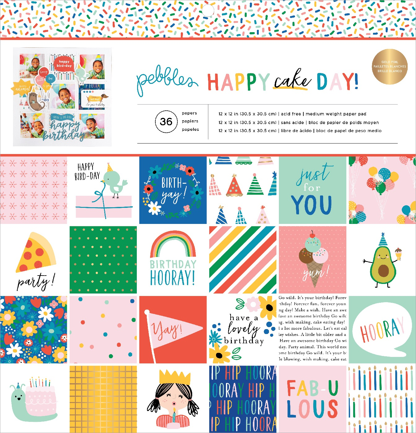 Pebbles Single-Sided Paper Pad 12X12 36/Pkg-Happy Cake Day, 12 Designs/3 Each