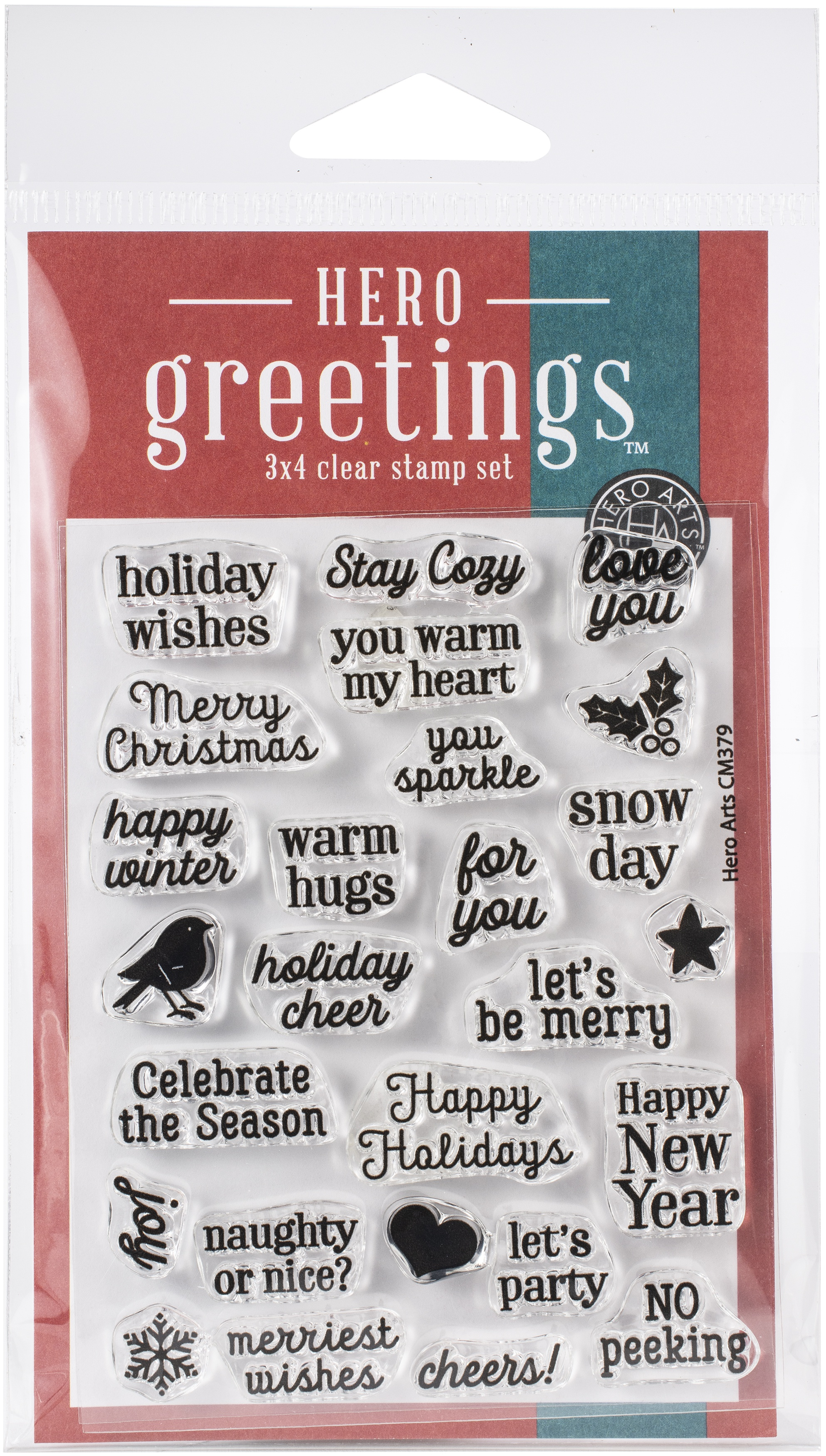 Hero Arts Greetings Clear Stamps 3X4-Christmas Messages