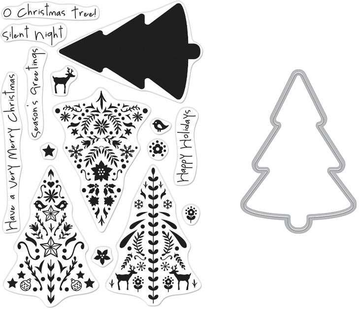 Hero Arts Clear Stamp & Die Combo-Nordic Tree
