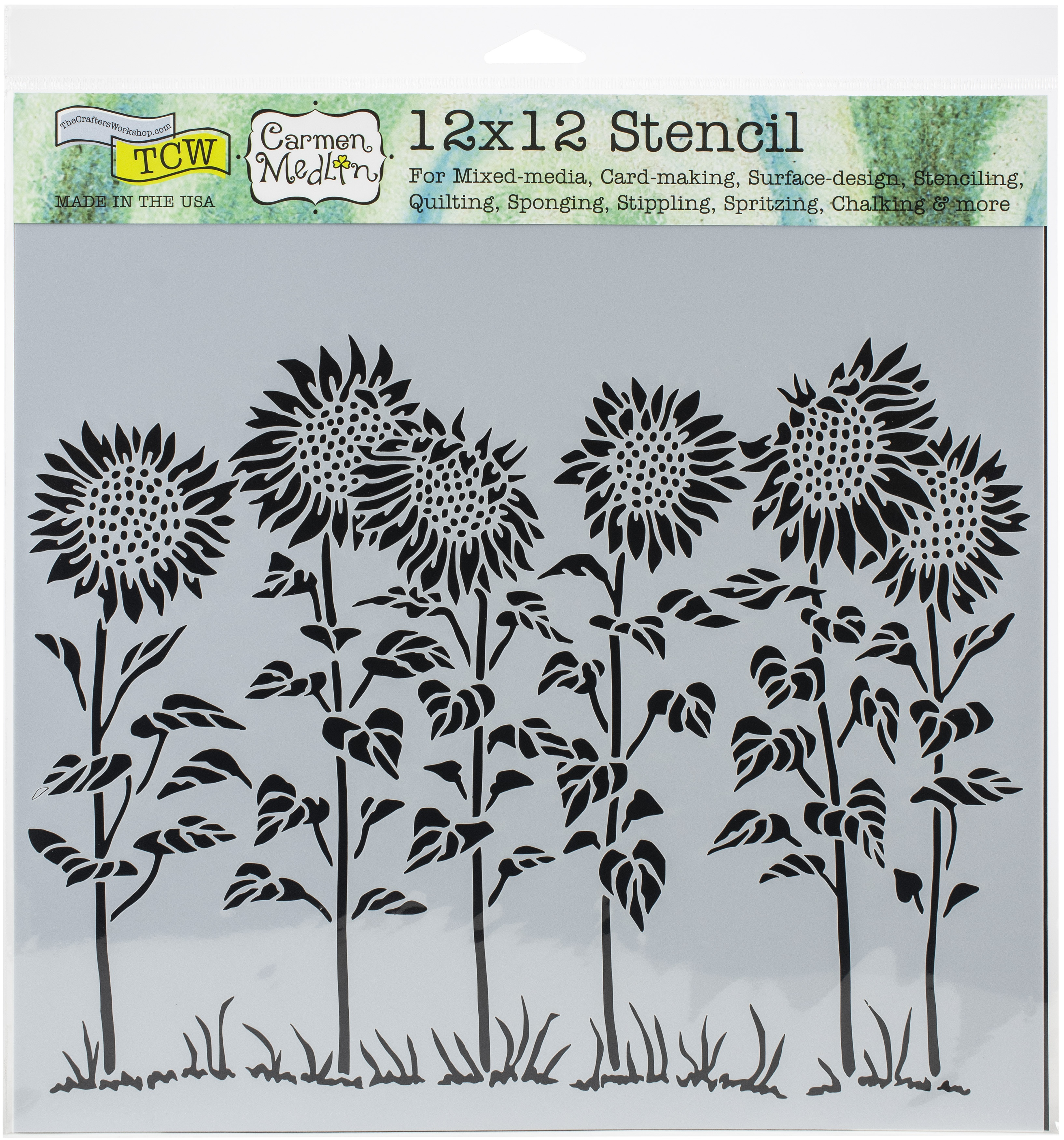 Sunflower Meadow Stencil 12X12