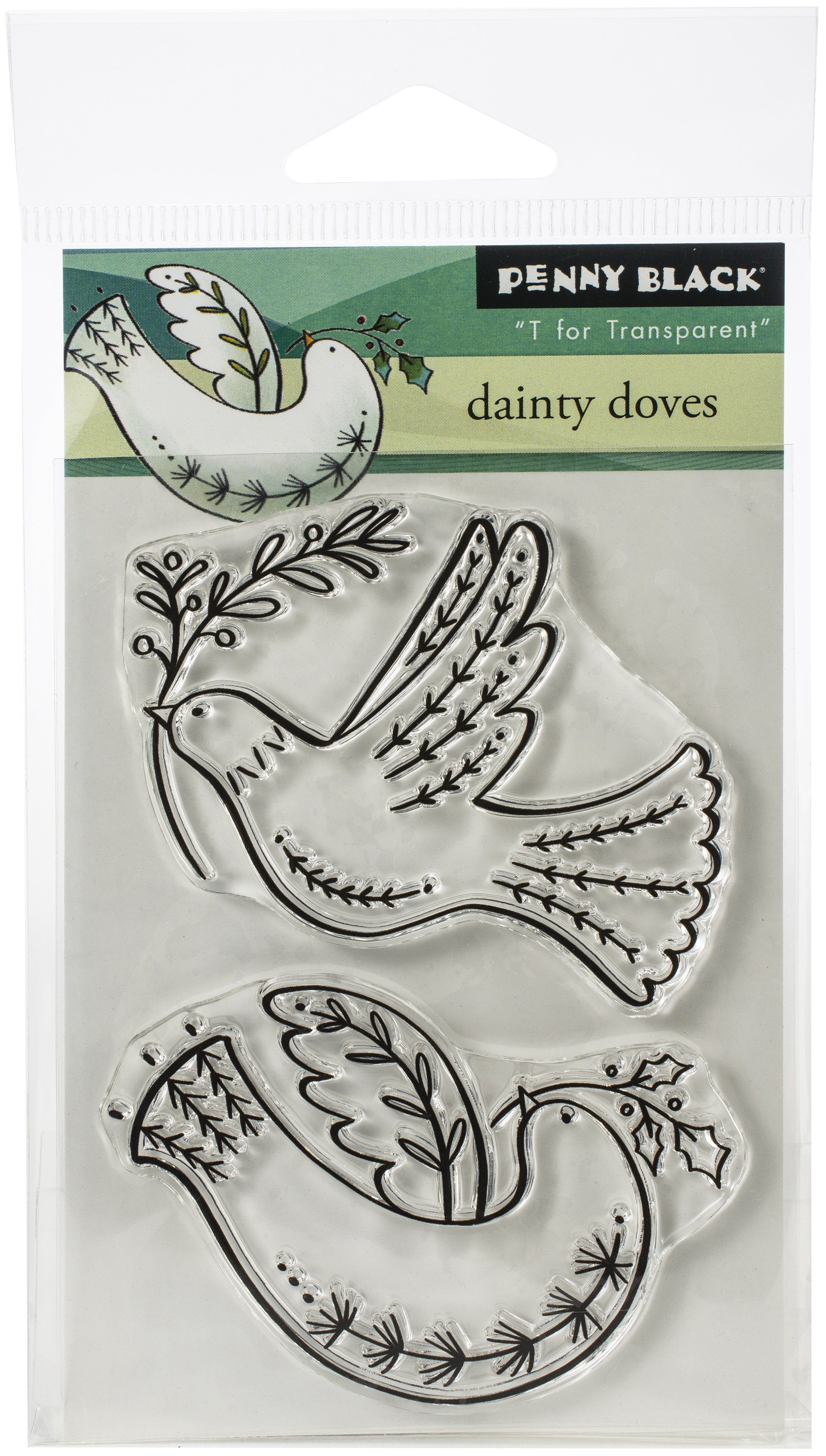 Penny Black Clear Stamps-Dainty Doves 3X4