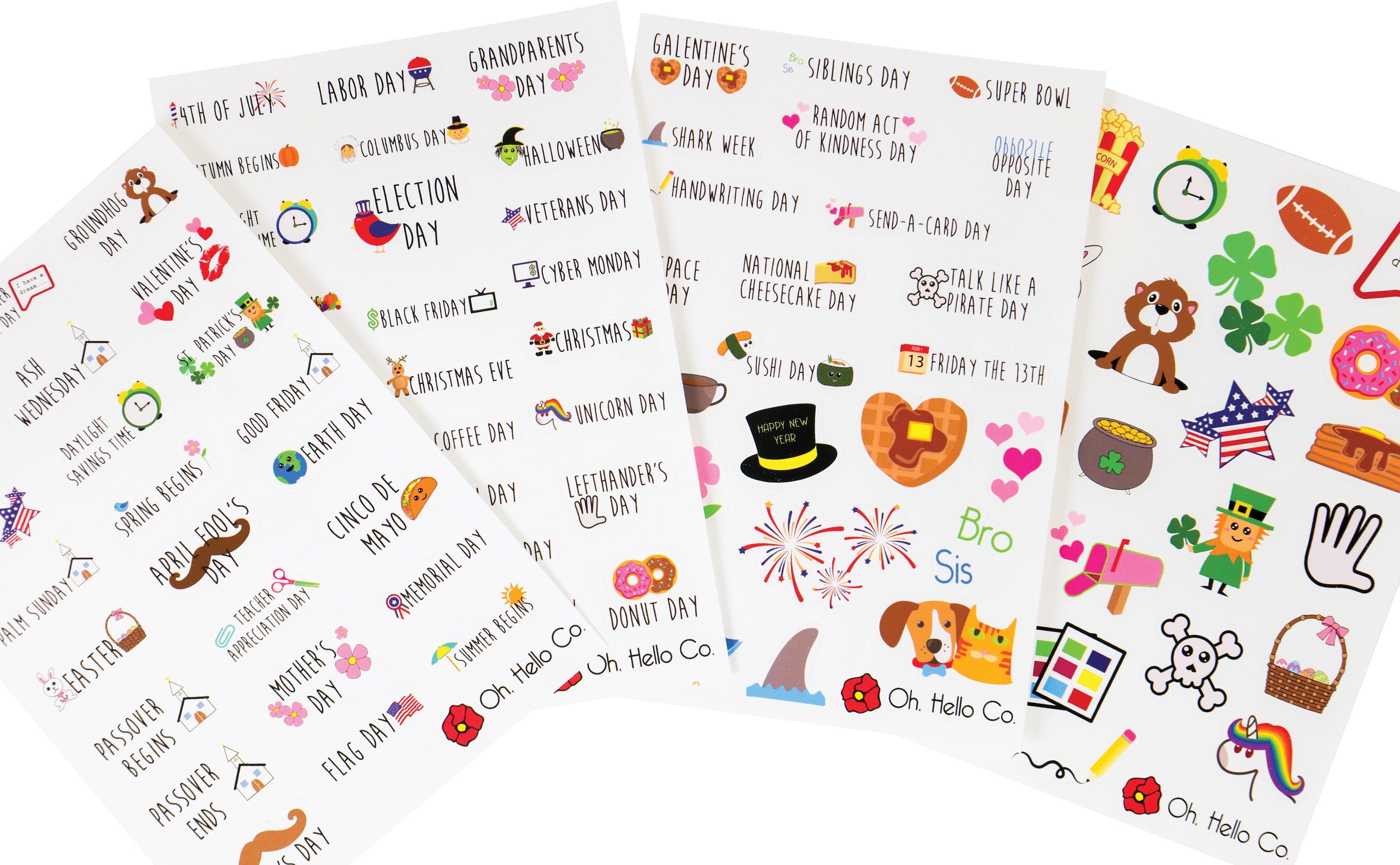 Oh Hello Planner Stickers 4 Sheets-Yearly Holidays