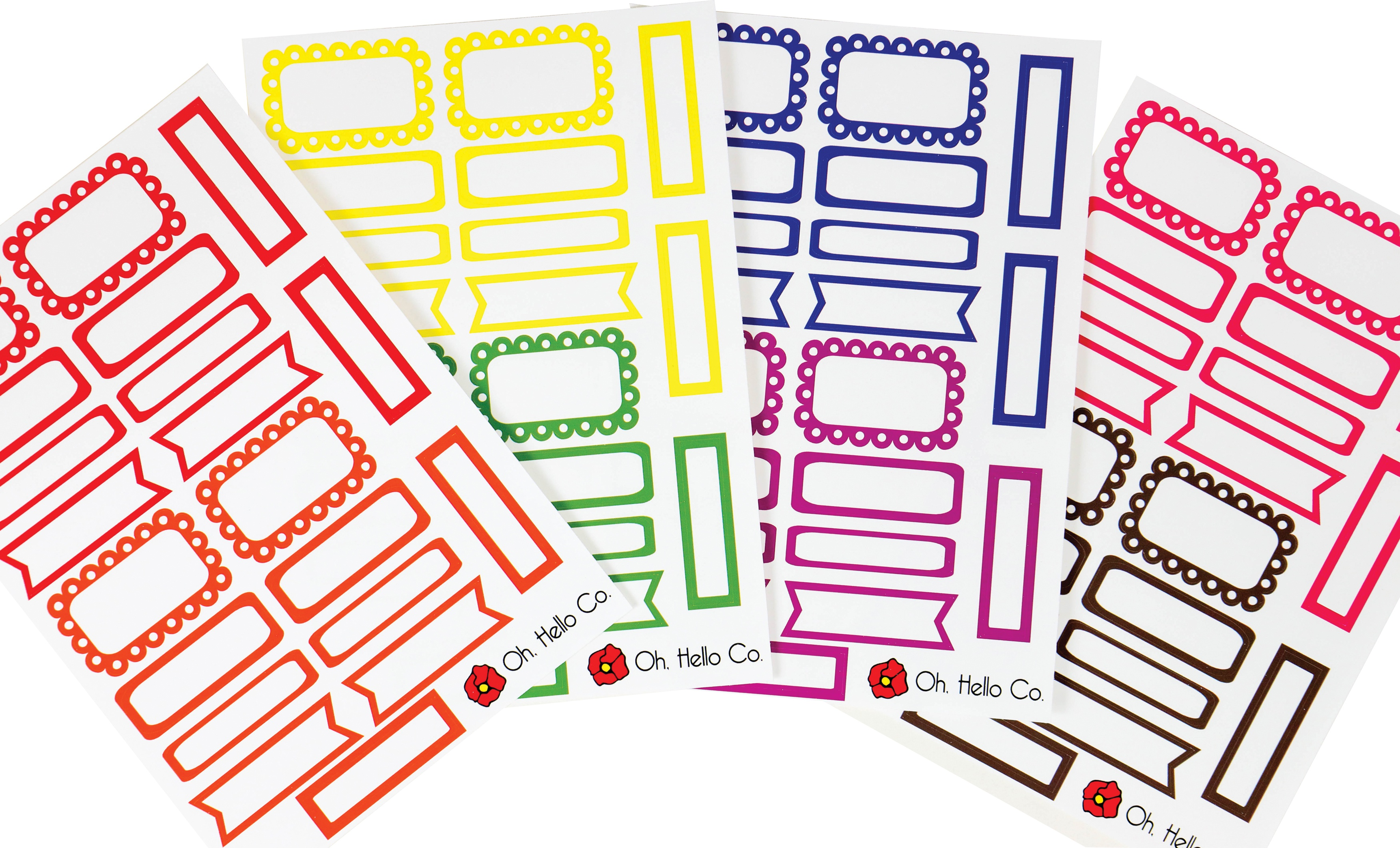 Oh Hello Planner Stickers 4 Sheets-Rainbow Functional