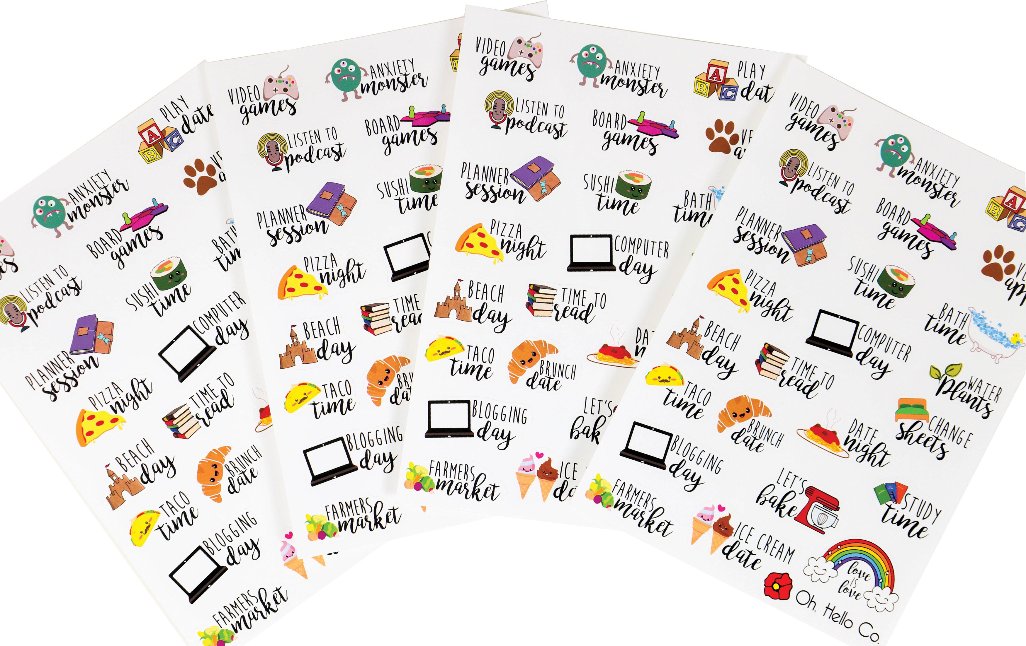 Oh Hello Planner Stickers 4 Sheets-Font Icon Variety
