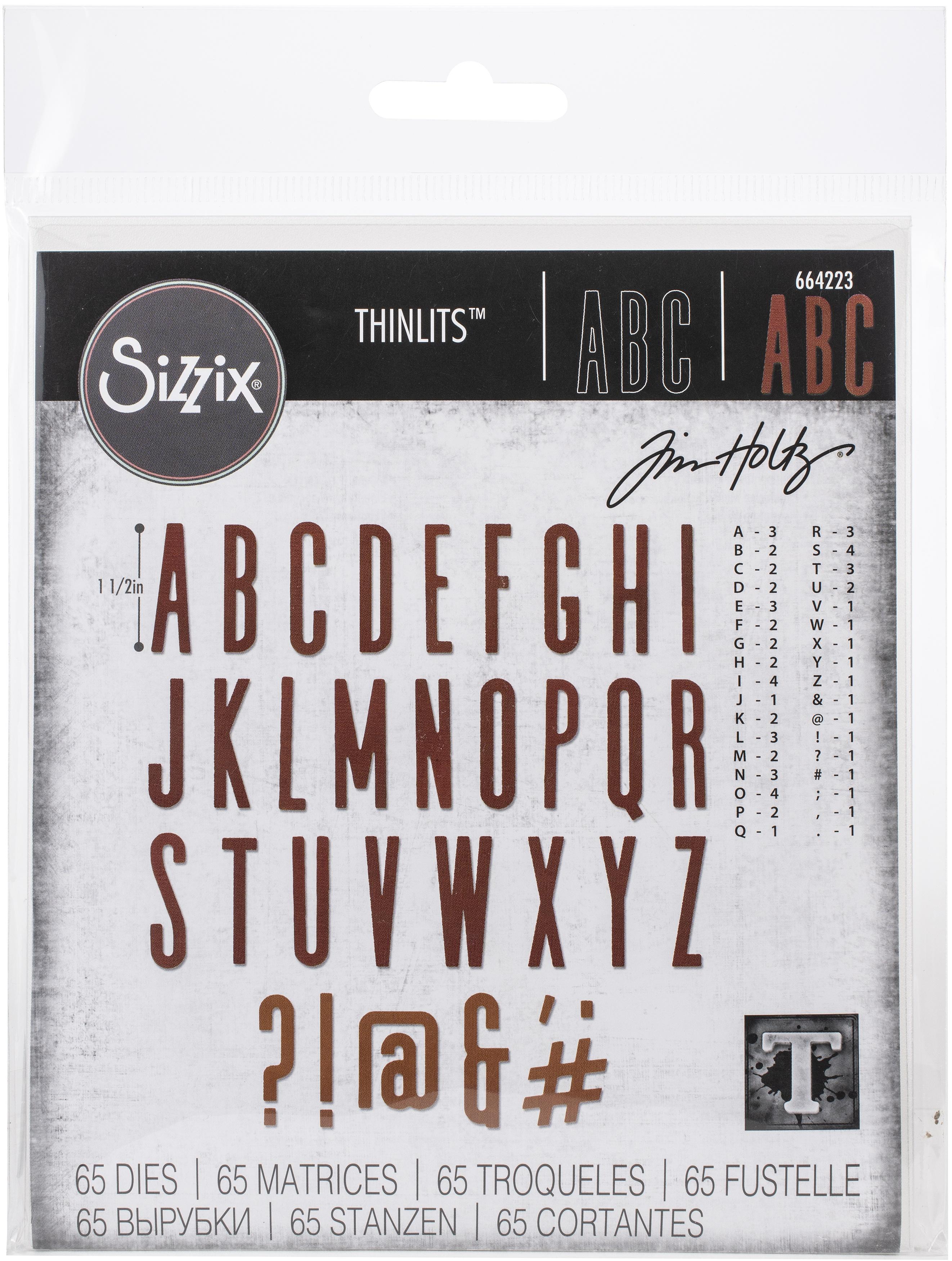 Sizzix Thinlits Dies By Tim Holtz 65/Pkg-Alphanumeric, Classic Upper