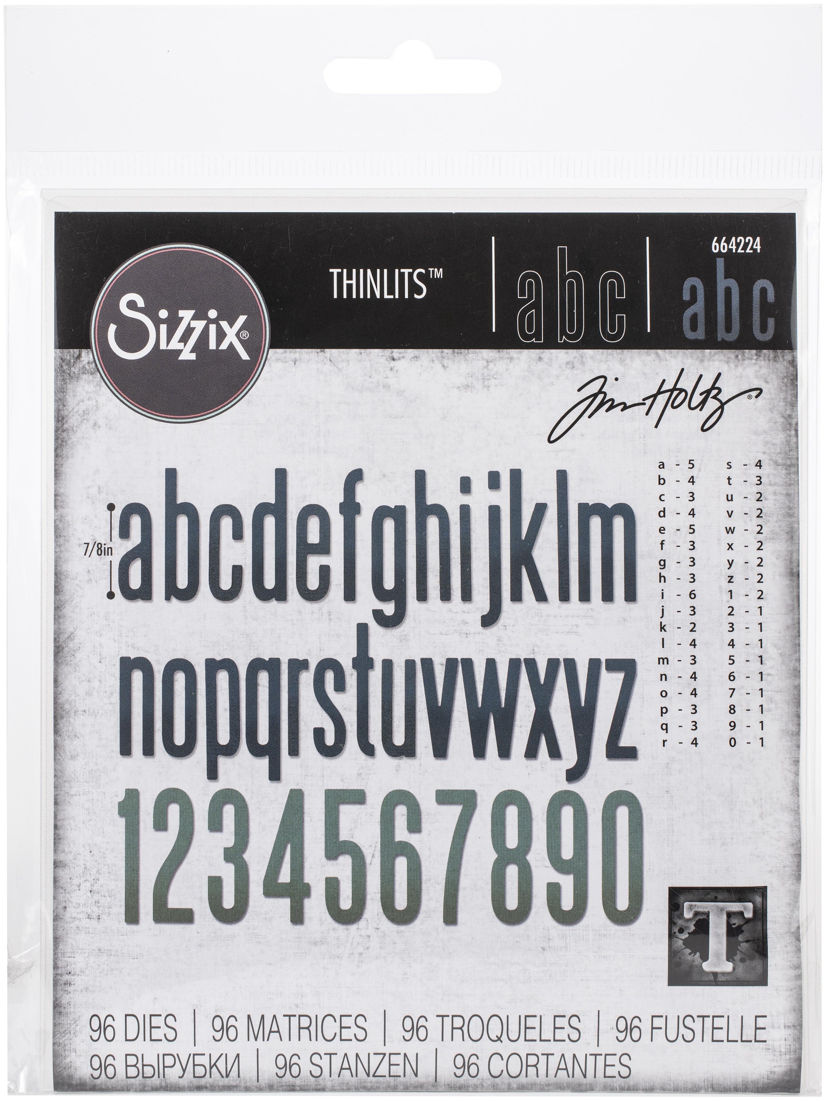 Sizzix Thinlits Dies By Tim Holtz 96/Pkg-Alphanumeric, Classic Lower