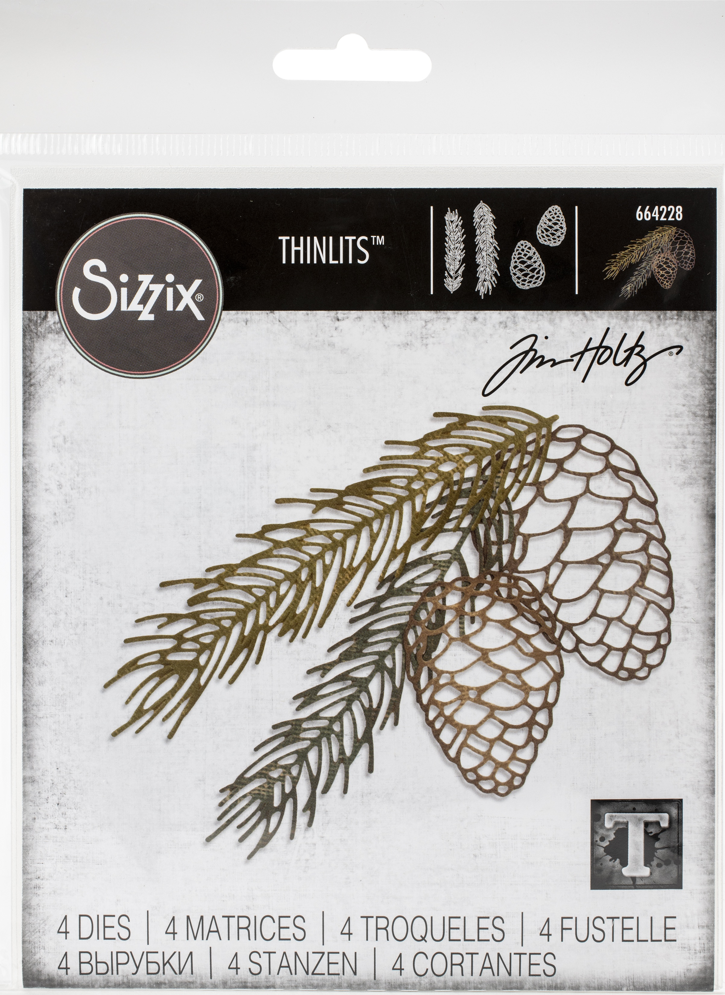Sizzix Thinlits Dies By Tim Holtz 4/Pkg-Pine Branch