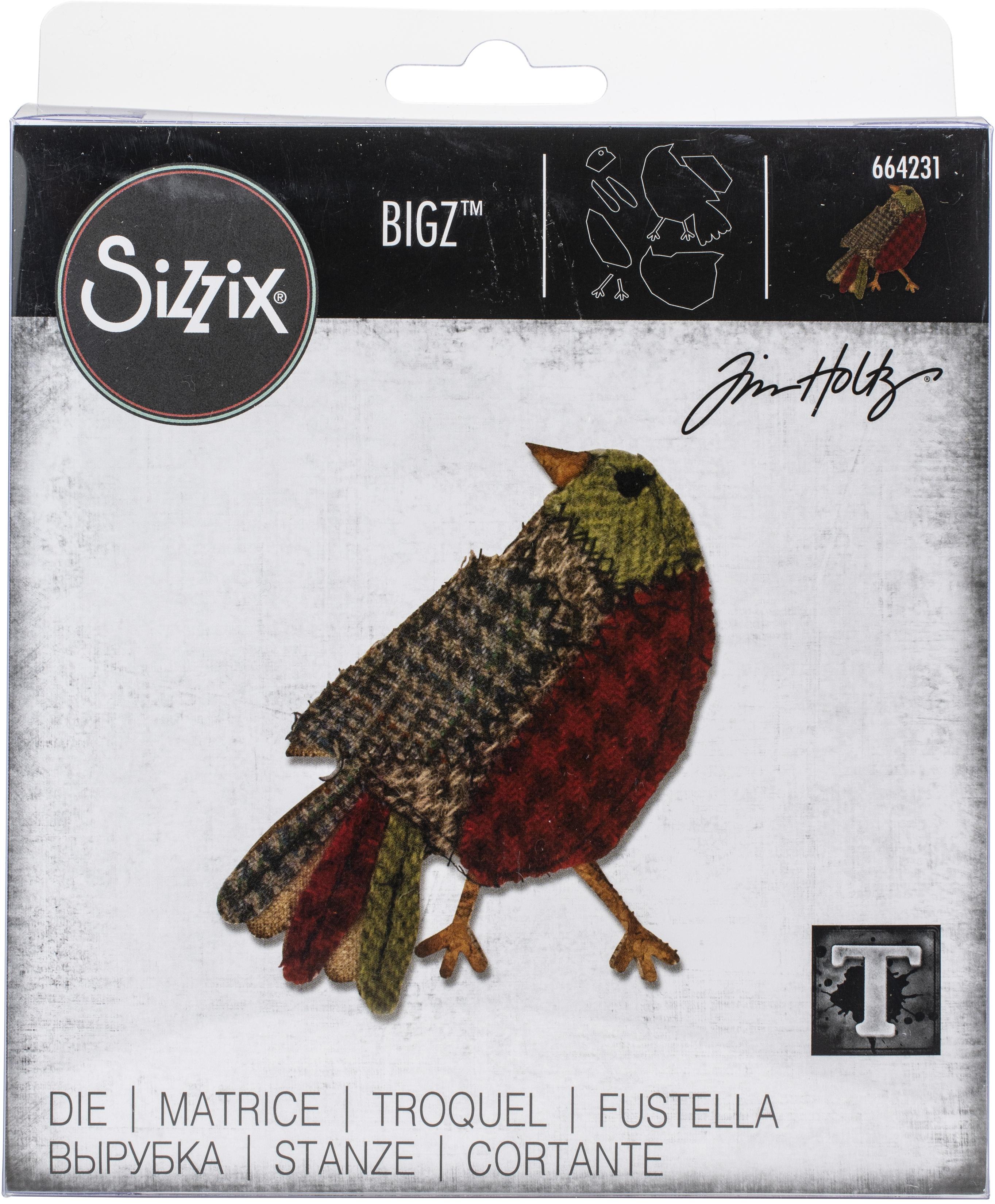 Sizzix Bigz Die By Tim Holtz-Patchwork Bird