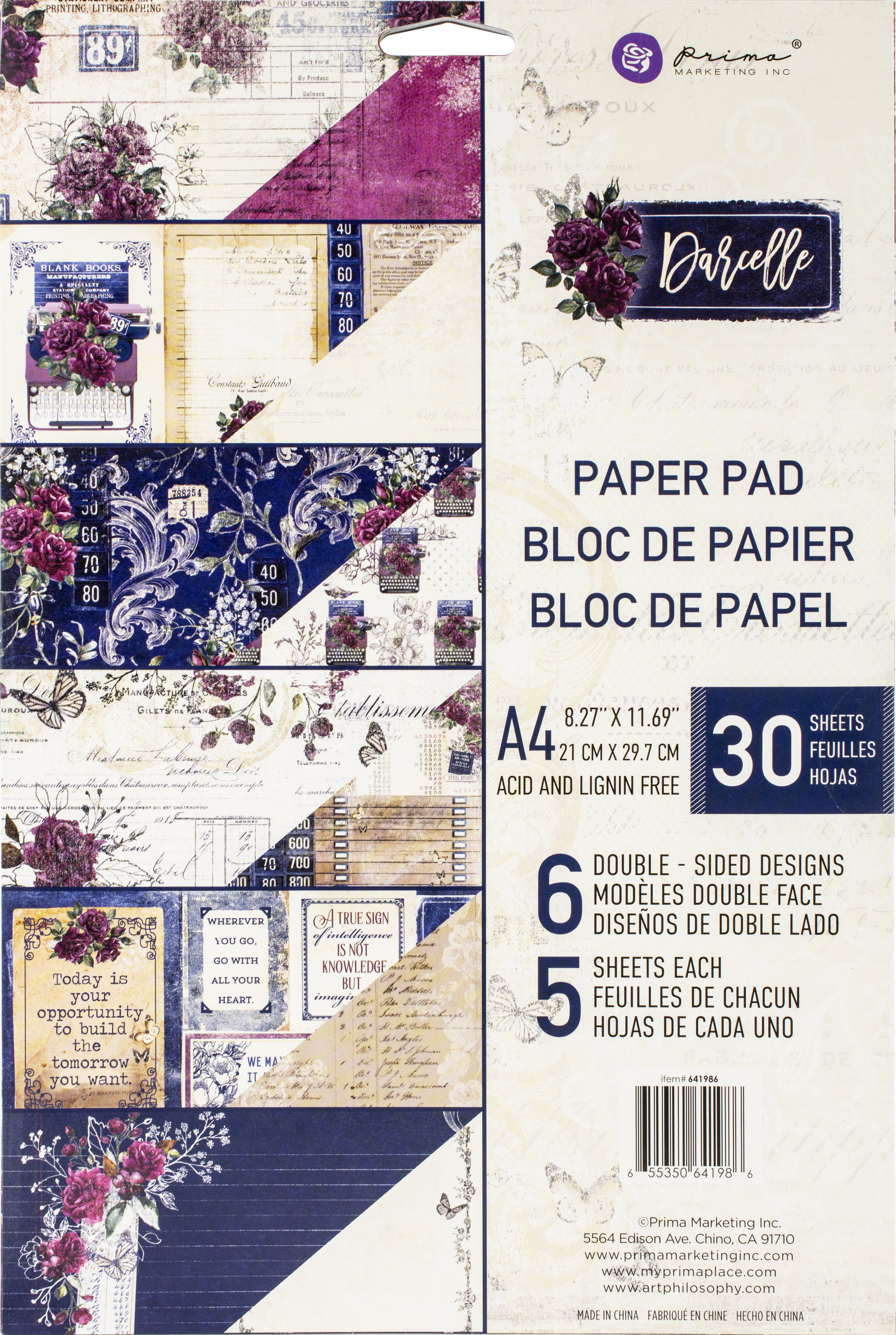 Prima Marketing Double-Sided Paper Pad A4 30/Pkg-Darcelle, 6 Designs/5 Each