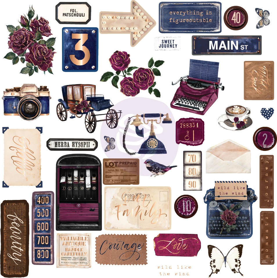 Darcelle Cardstock Ephemera 39/Pkg-Shapes, Tags, Words, Foiled Accents
